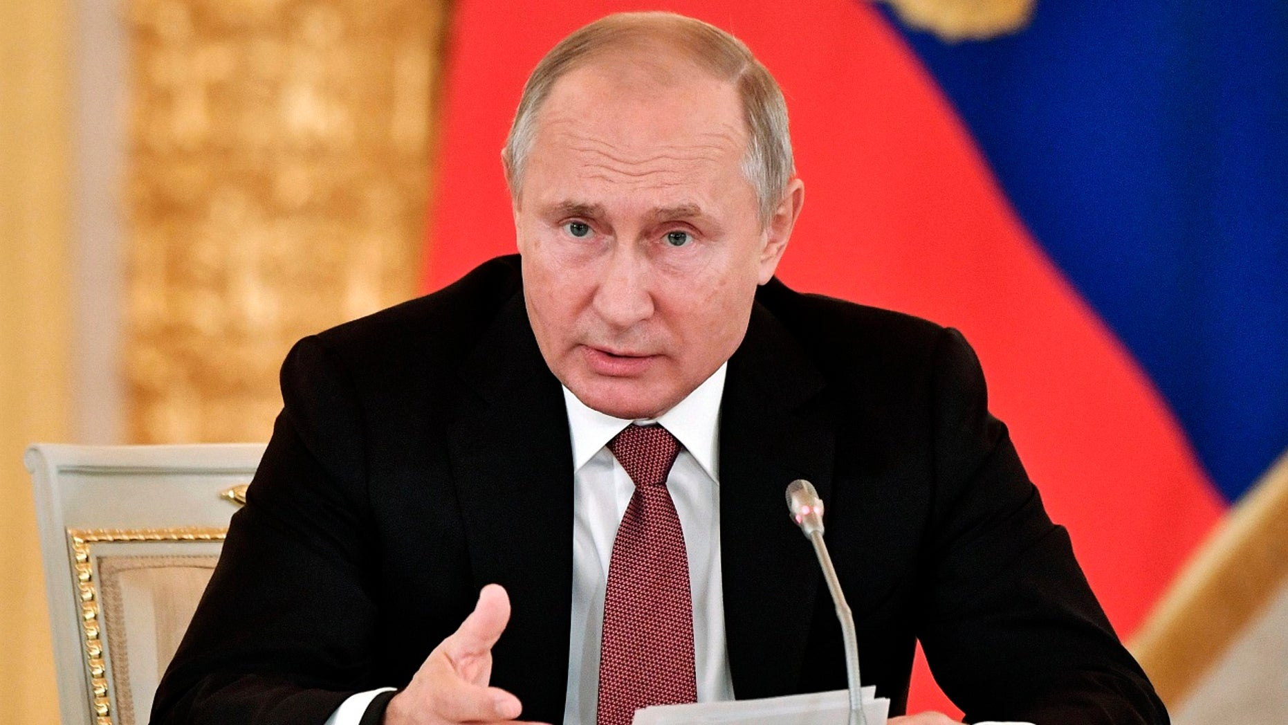 File photo - Russian President Vladimir Putin speaks during a meeting in Moscow's Kremlin, Russia, Tuesday, Nov. 27, 2018.