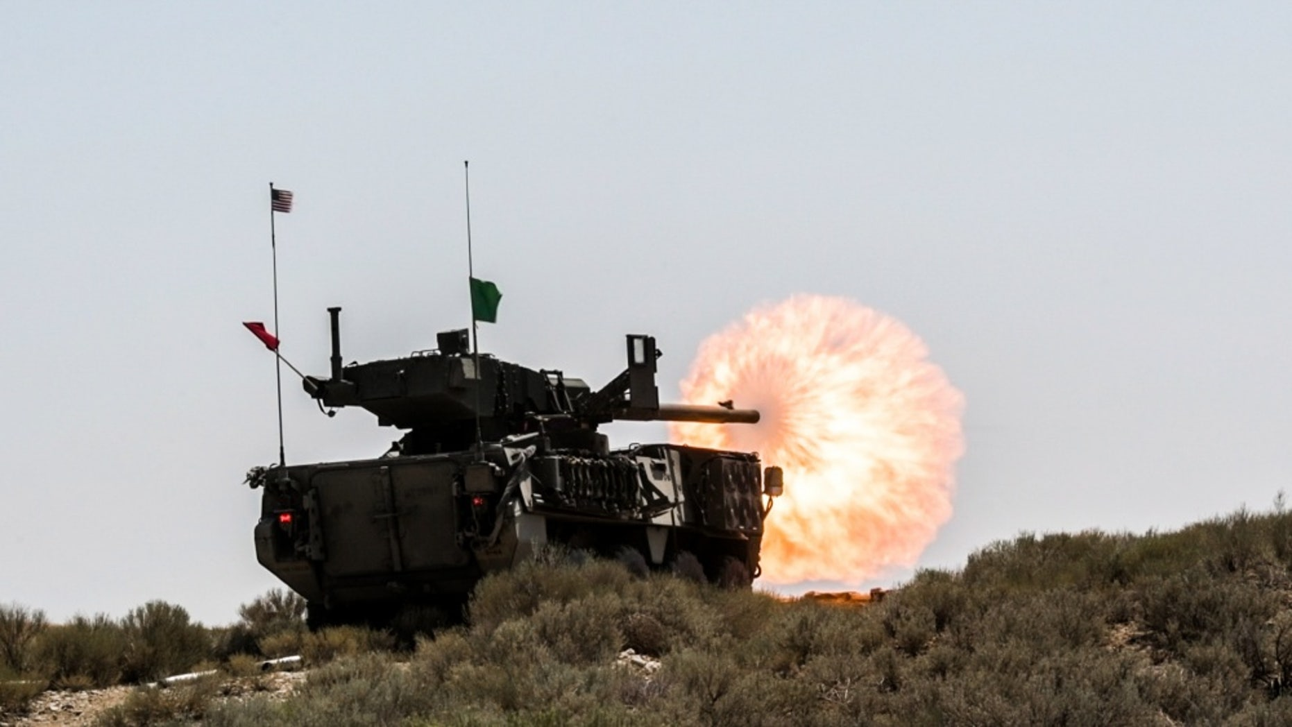 File photo - An M1128 Stryker Mobile Gun System, with 1st Squadron, 82nd Cavalry Regiment, Oregon Army National Guard, shoots it's 105mm cannon during a live-fire exercise during the squadron's annual training, July 26, 2018, at Orchard Combat Training Center near Boise, Idaho.(Oregon Army National Guard photo by Staff Sgt. Zachary Holden, Oregon Military Department Public Affairs)