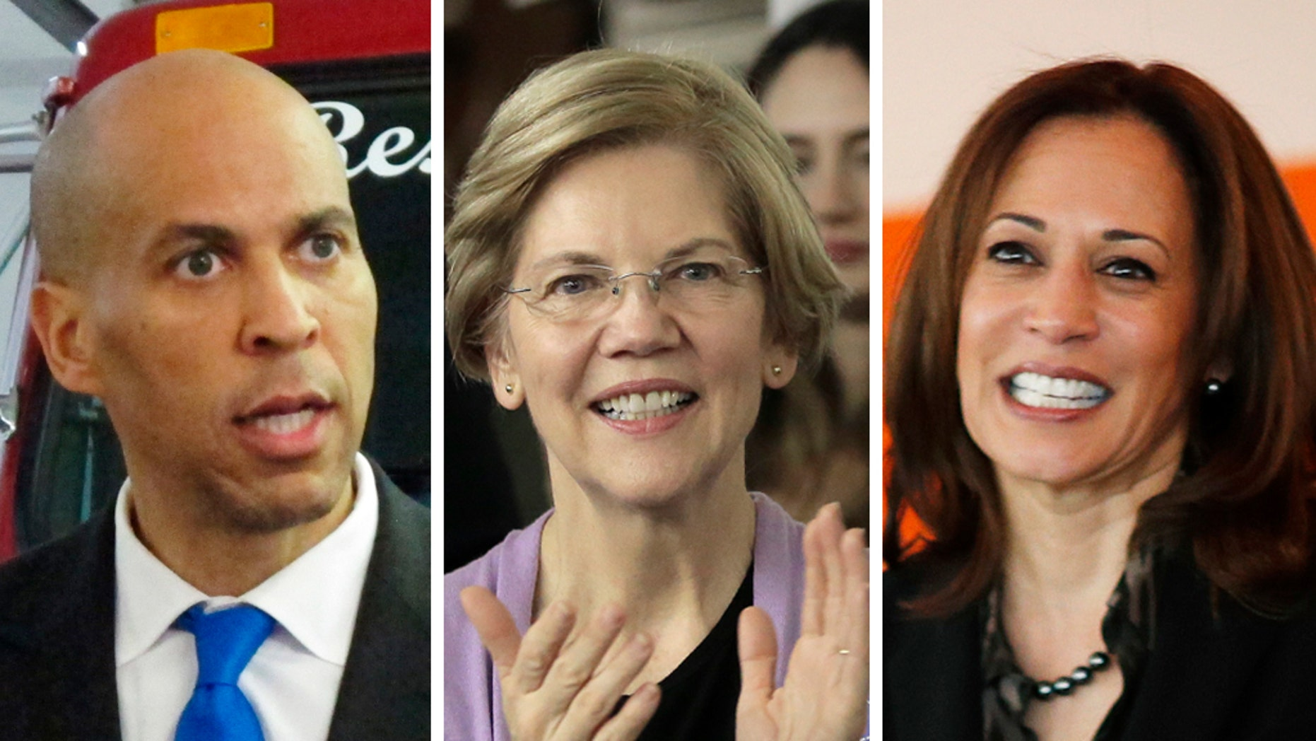 Massachusetts Sen. Elizabeth Warren, New Jersey Sen. Cory Booker and California Sen. Kamala Harris are among a slew of possible 2020 presidential contenders.