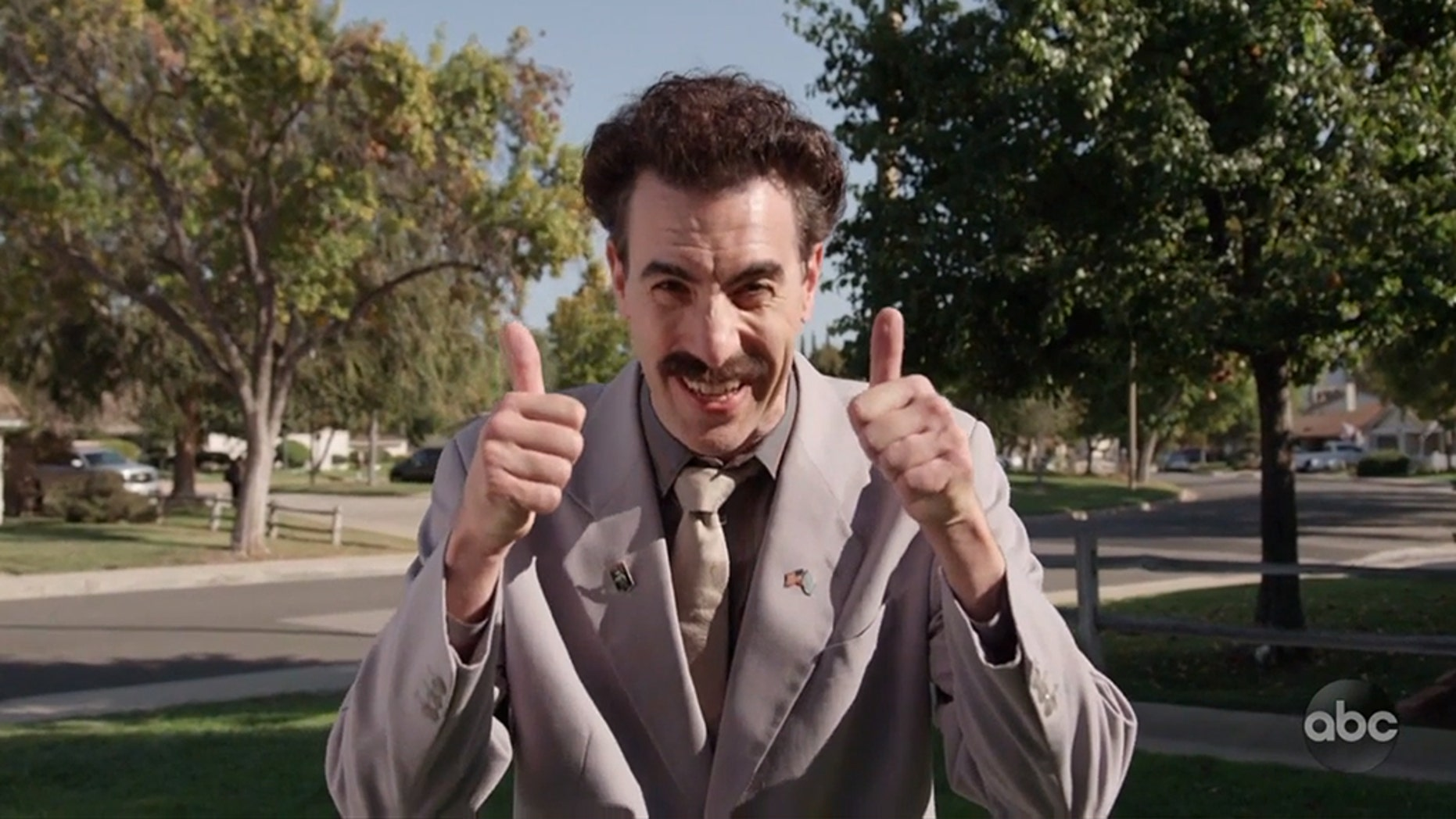 "Borat, the popular TV and film character portrayed by Sacha Baron Cohen, made an appearance in a Southern California neighborhood to talk politics and the midterm elections, as seen in a video that aired Tuesday on ""Jimmy Kimmel Live!"""