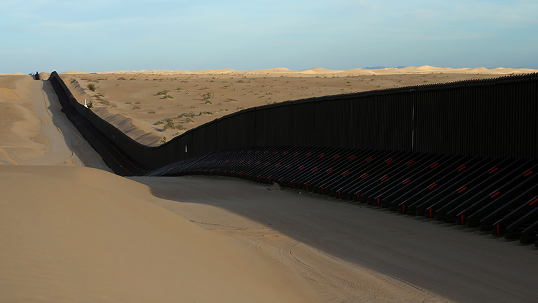 The border fence between Mexico and the United States is pictured near Calexico, California, in February 2017.