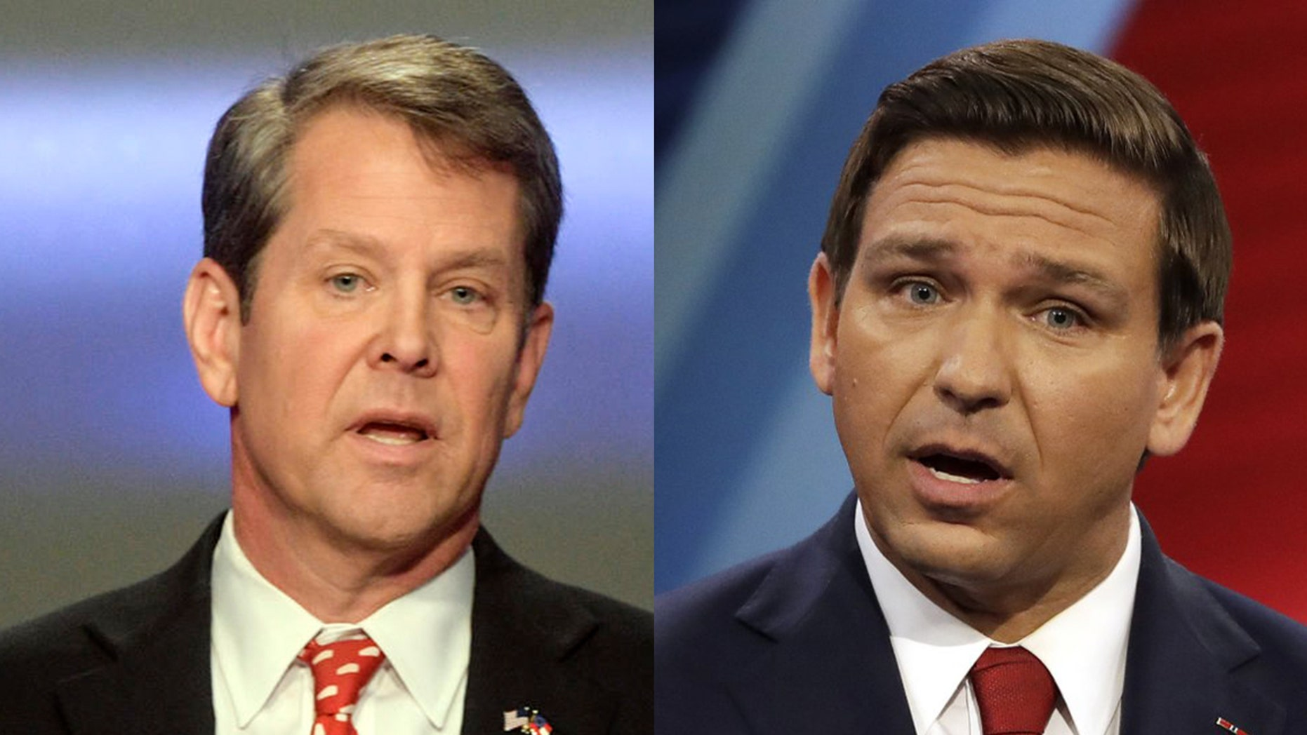 Georgia Republican Brian Kemp and Florida Republican Ron DeSantis both look certain to win their gubernatorial races. (AP)<br>