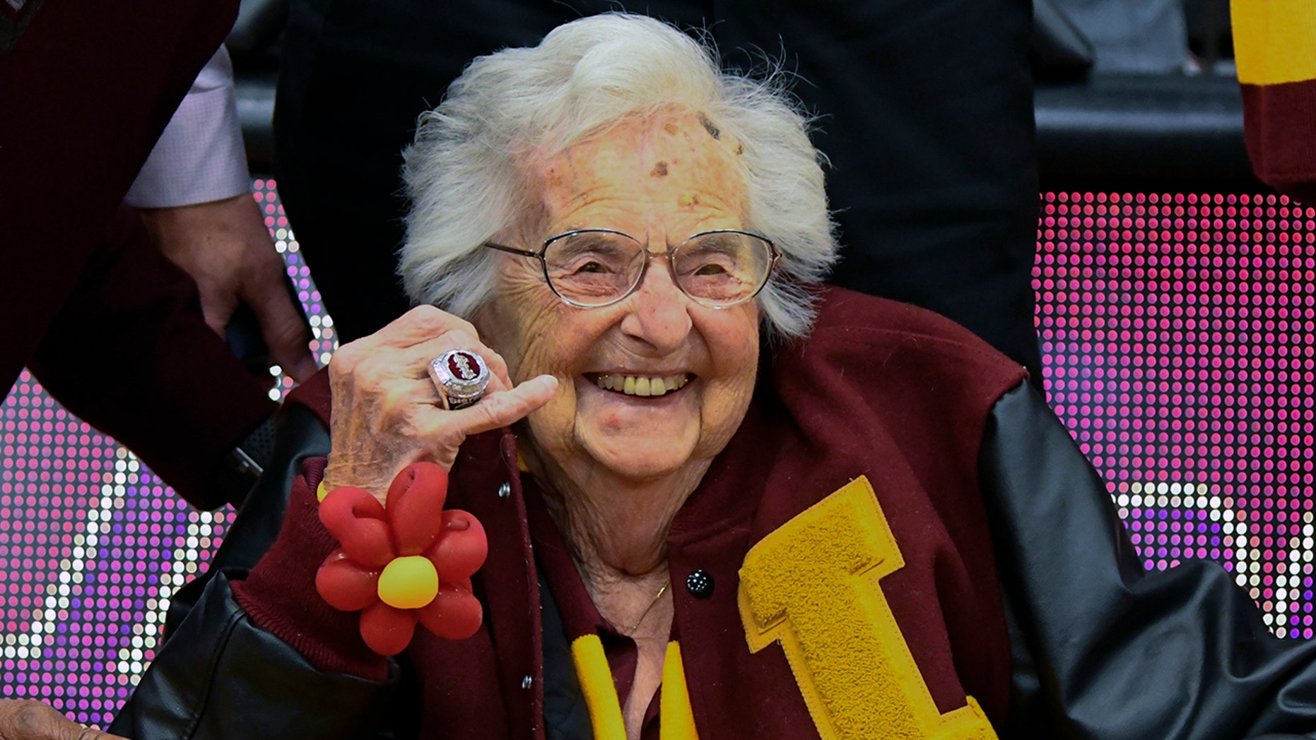 Sister Jean of Loyola University of Chicago unveils the NCAA's Final Four Ring that she received before an NCAA college basketball game between Loyola of Chicago and Nevada in Chicago, the Tuesday, November 27, 2018.