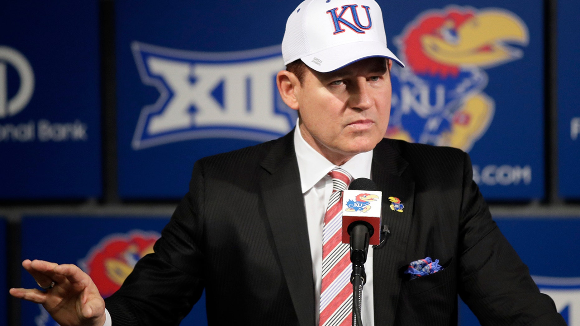 The University of Kansas' new football coach, Les Miles, makes a statement during a news conference in Lawrence, Kan., Sunday, Nov. 18, 2018.