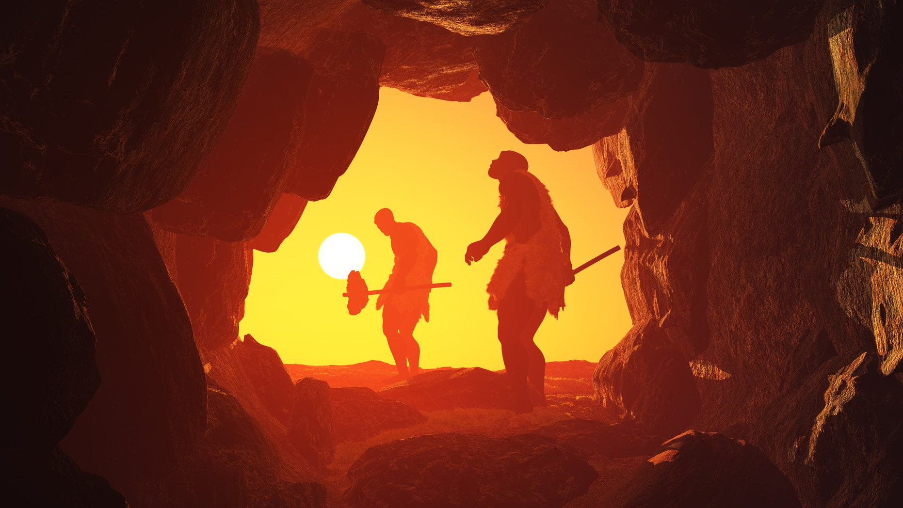 Artist's illustration of primitive man in a cave. (1971yes/iStock)