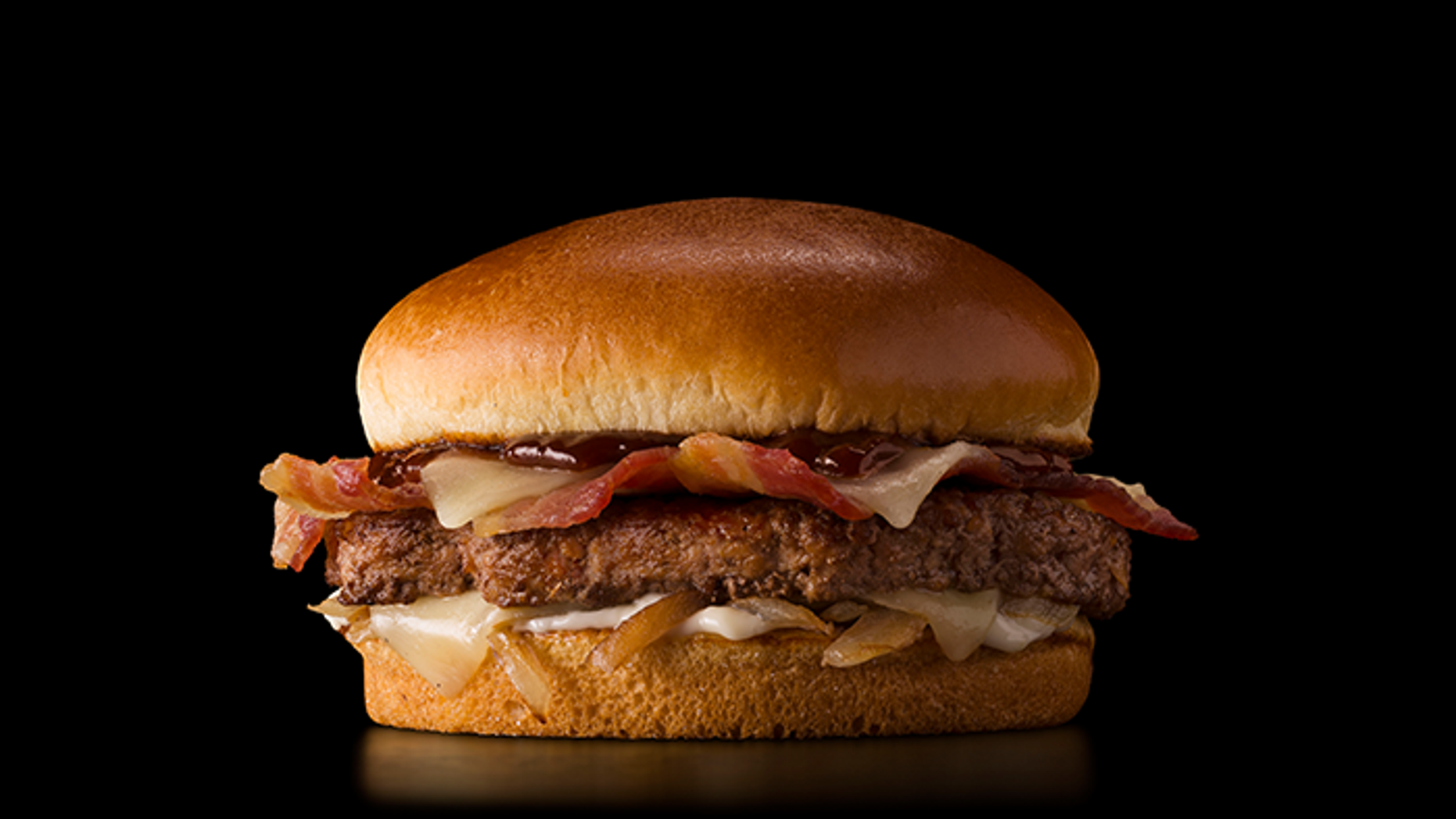 This McDonald's is expanding a general menu again with menu equipment from India, Australia, France, Canada, and Germany - like this Cheddar BBQ Bacon Burger.