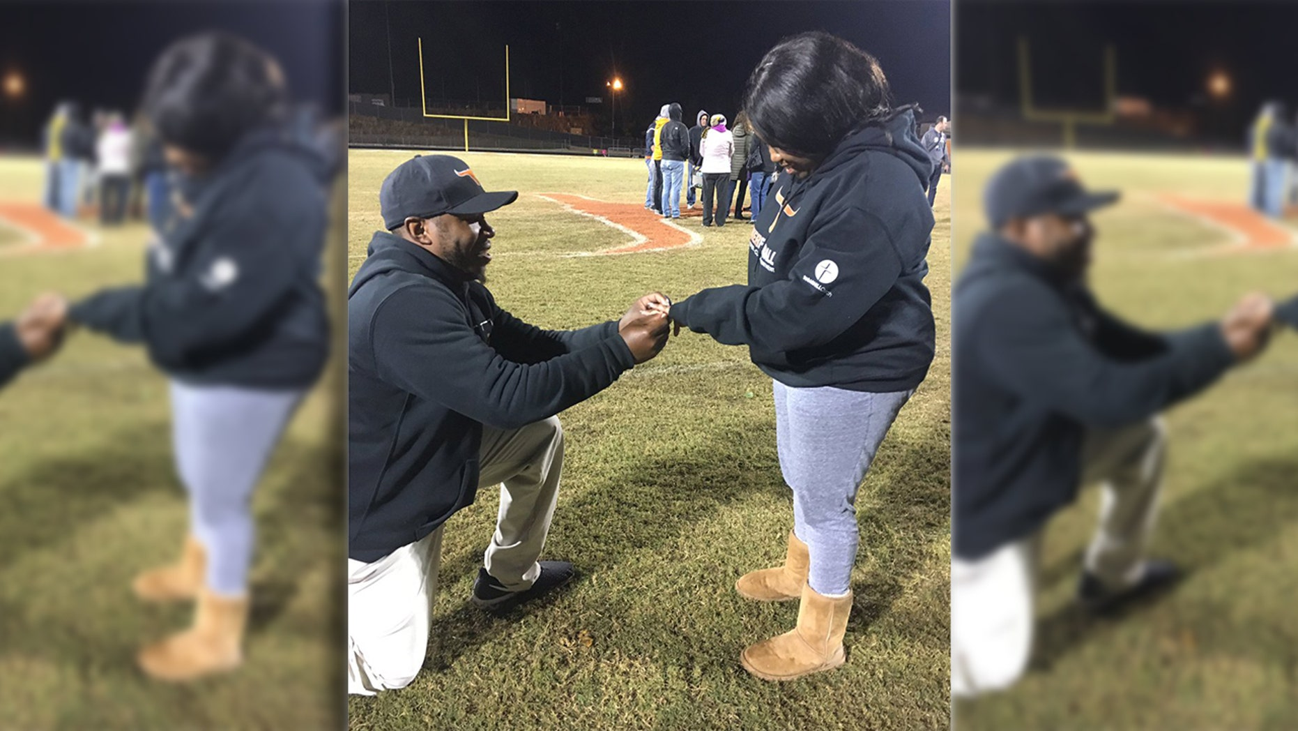"A Georgia woman said ""yes"" to her boyfriend's marriage proposal — which he pulled off with a little help from the players of the high school football team he coaches."