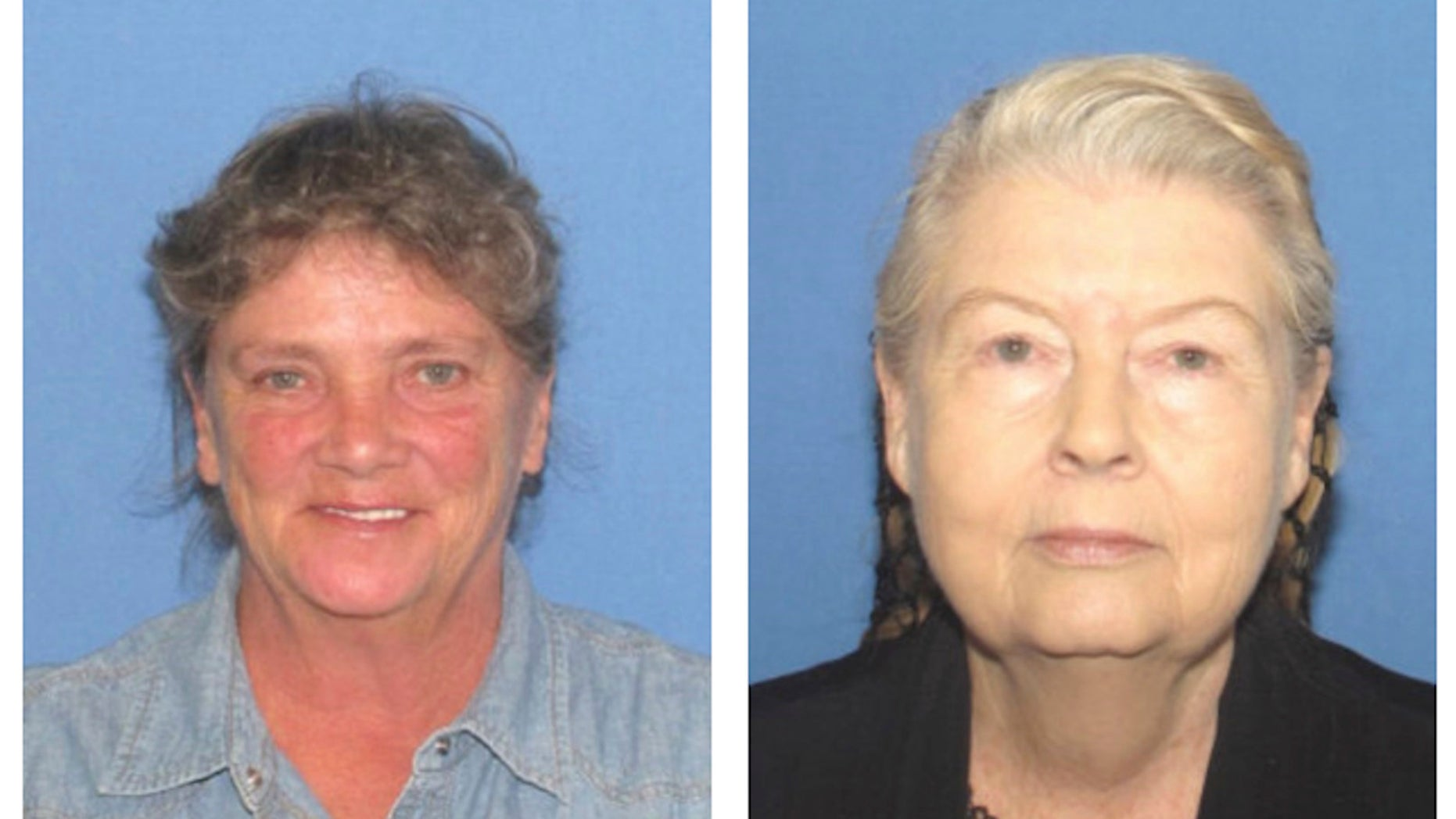 This combination of undated photos provided by the Ohio Attorney General's office show Rita Newcomb, left, and Fredericka Wagner. Authorities announced Tuesday, Nov. 13, 2018, that the two women have been arrested for impeding the investigation into the slayings of eight members of one family in rural Ohio two years ago. (Ohio Attorney General's office via AP)