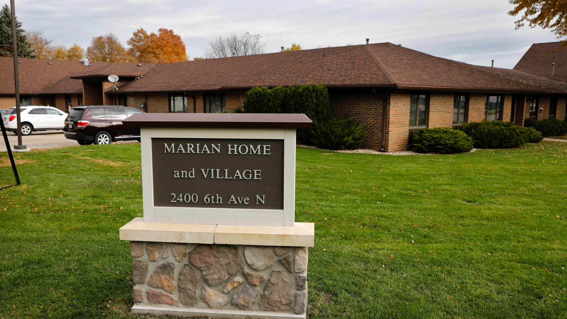 This Oct. 26, 2018 photo shows Marian Home and Village in Fort Dodge, Iowa. A bishop is vowing to relocate a priest who had been placed in the Iowa retirement home next to a Catholic school, despite a history of sexually abusing boys. The move comes in response to an Associated Press story exposing the church's three-decade cover-up of abuse committed by the Rev. Jerome Coyle. Coyle admitted in 1986 that he had sexually abused approximately 50 boys over the prior 20 years while serving at several parishes in Iowa. (AP Photo/Charlie Neibergall)