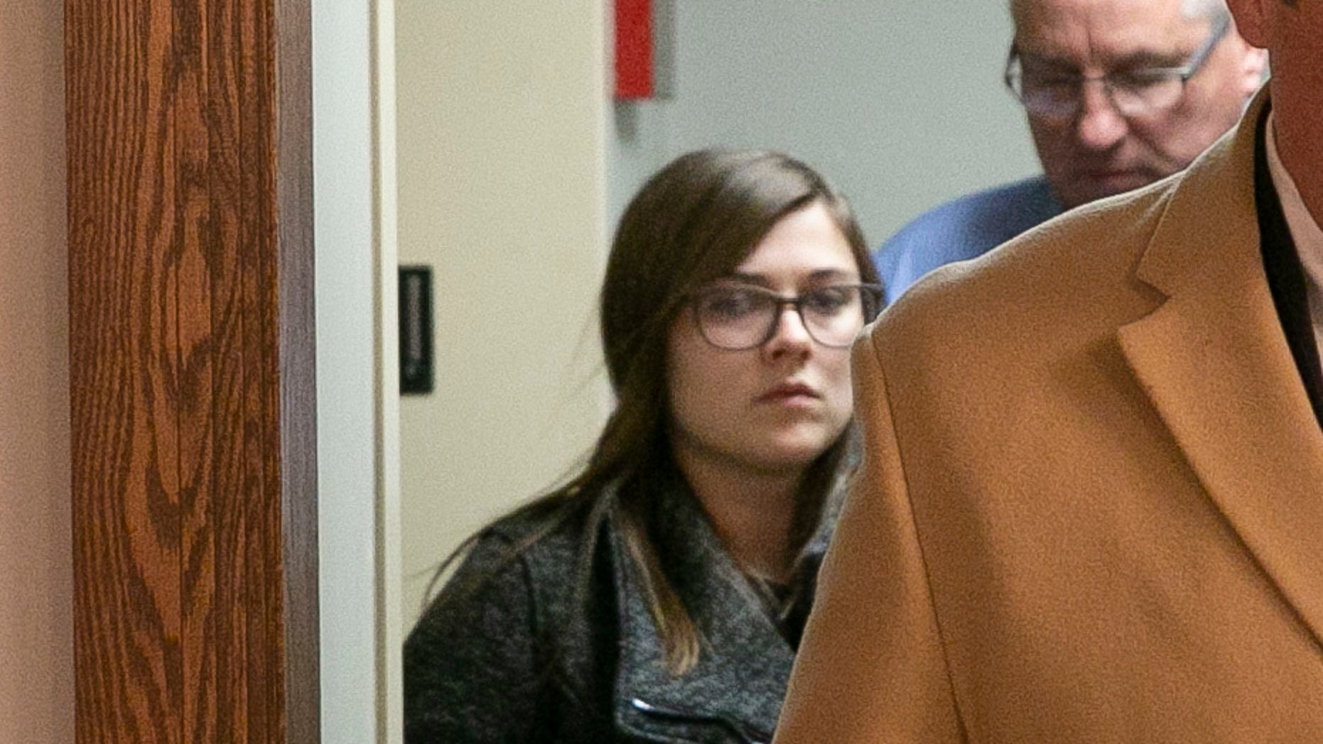 Alyssa Shepherd leaves the Fulton County Courthouse after her initial court appearance on Thursday, Nov. 15, 2018, in Rochester, Ind. Shepherd is accused of striking and killing three children with a pickup truck as they crossed a highway to board a school bus. (Santiago Flores/South Bend Tribune via AP)