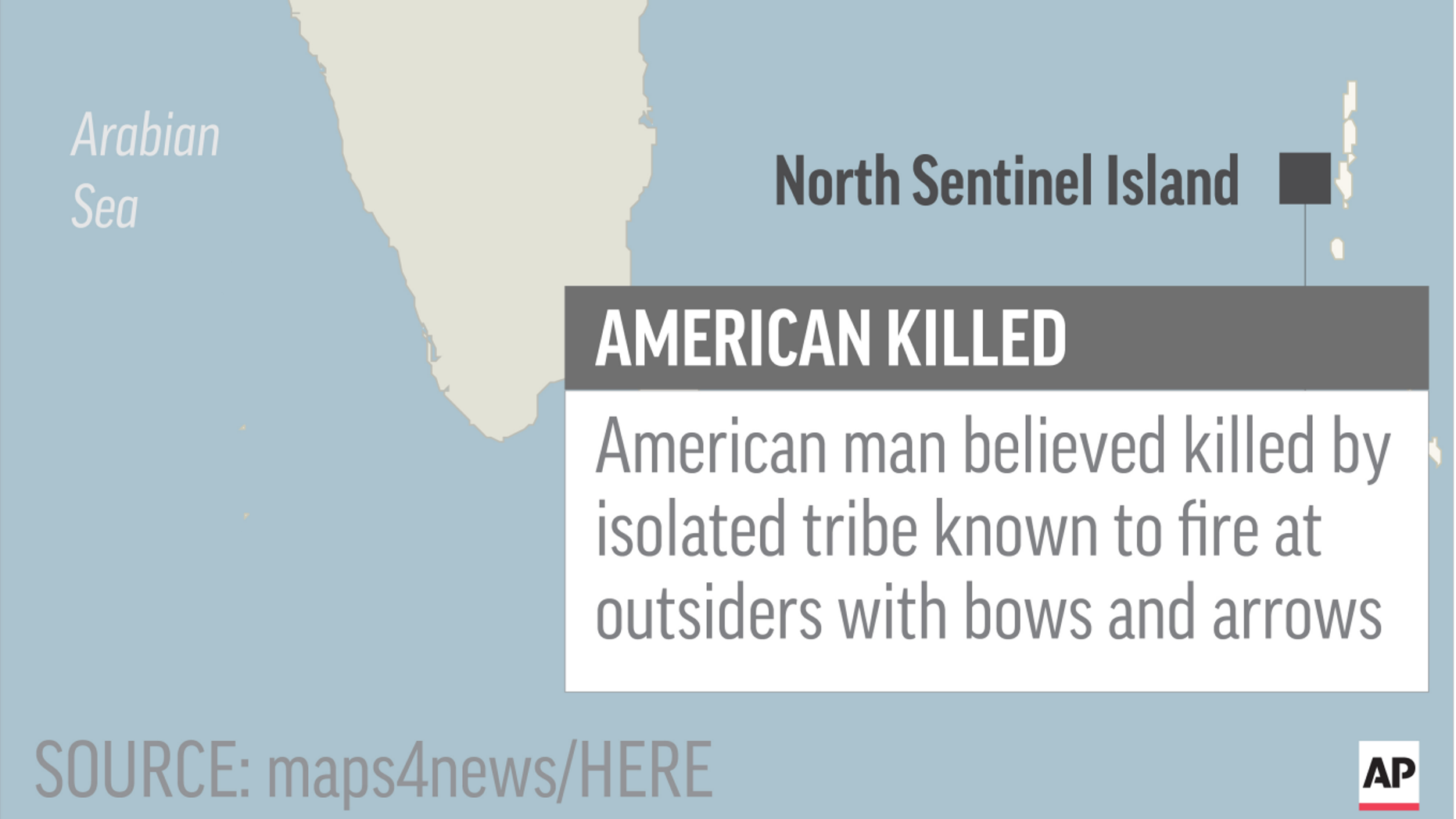 Map locates North Sentinel Island, India, where an American was believed killed by isolated tribe; 1c x 2 inches; 46.5 mm x 50 mm;