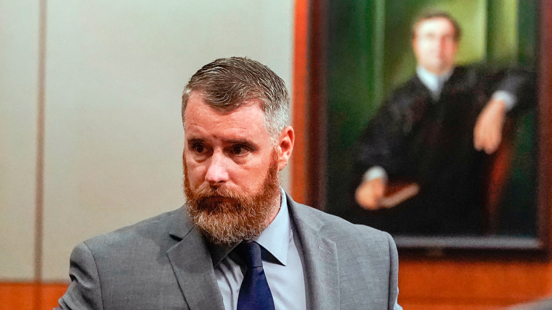 FILE - In this June 13, 2018, file photo, Terry Thompson, accused of fatally choking John Hernandez, left, is shown in court in Houston. Thompson is standing trial again on a murder charge in the strangling of Hernandez, a man he and his wife confronted outside a Houston-area restaurant in 2017. Thompson's first trial in June ended in a mistrial. (Melissa Phillip/Houston Chronicle via AP, Pool, File)