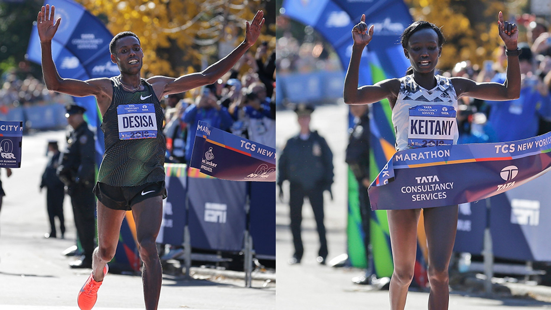 Lelisa Desisa, of Ethiopia, crosses the finish line first in the men's division of the New York City Marathon (left). Mary Keitany(right) of Kenya finished first in the women's division of the race, her fourth time winning.