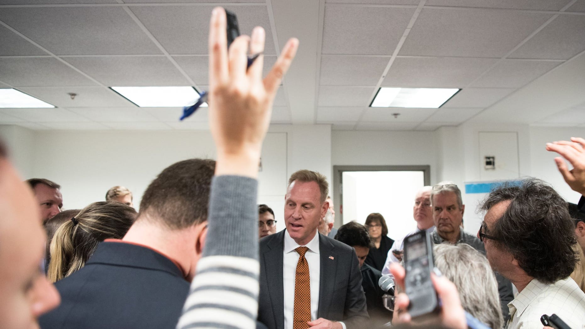 Deputy Secretary of Defense Patrick M. Shanahan talks with the press on Thursday.