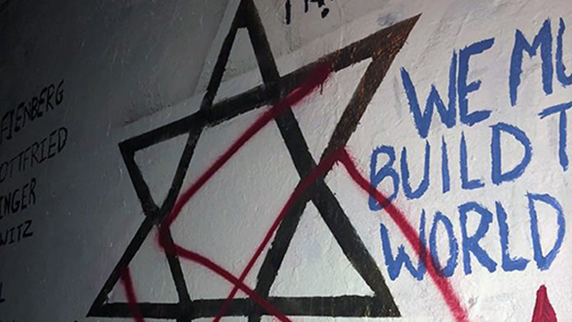 A swastika is seen covering a Star of David that was painted as part of a tribute mural on the campus of Duke University in Durham, N.C.