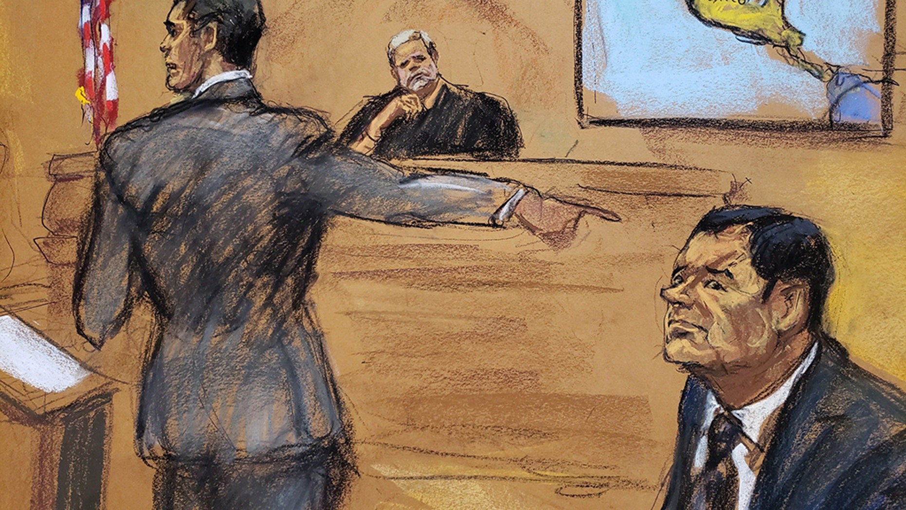 A photographic reproduction of a drawing by Jane Rosenberg that shows Joaquin 'El Chapo' Guzman, right, Assistant Attorney General Adam Fels, left, and Justice Brian Cogan in Brooklyn South District Court earlier this month.