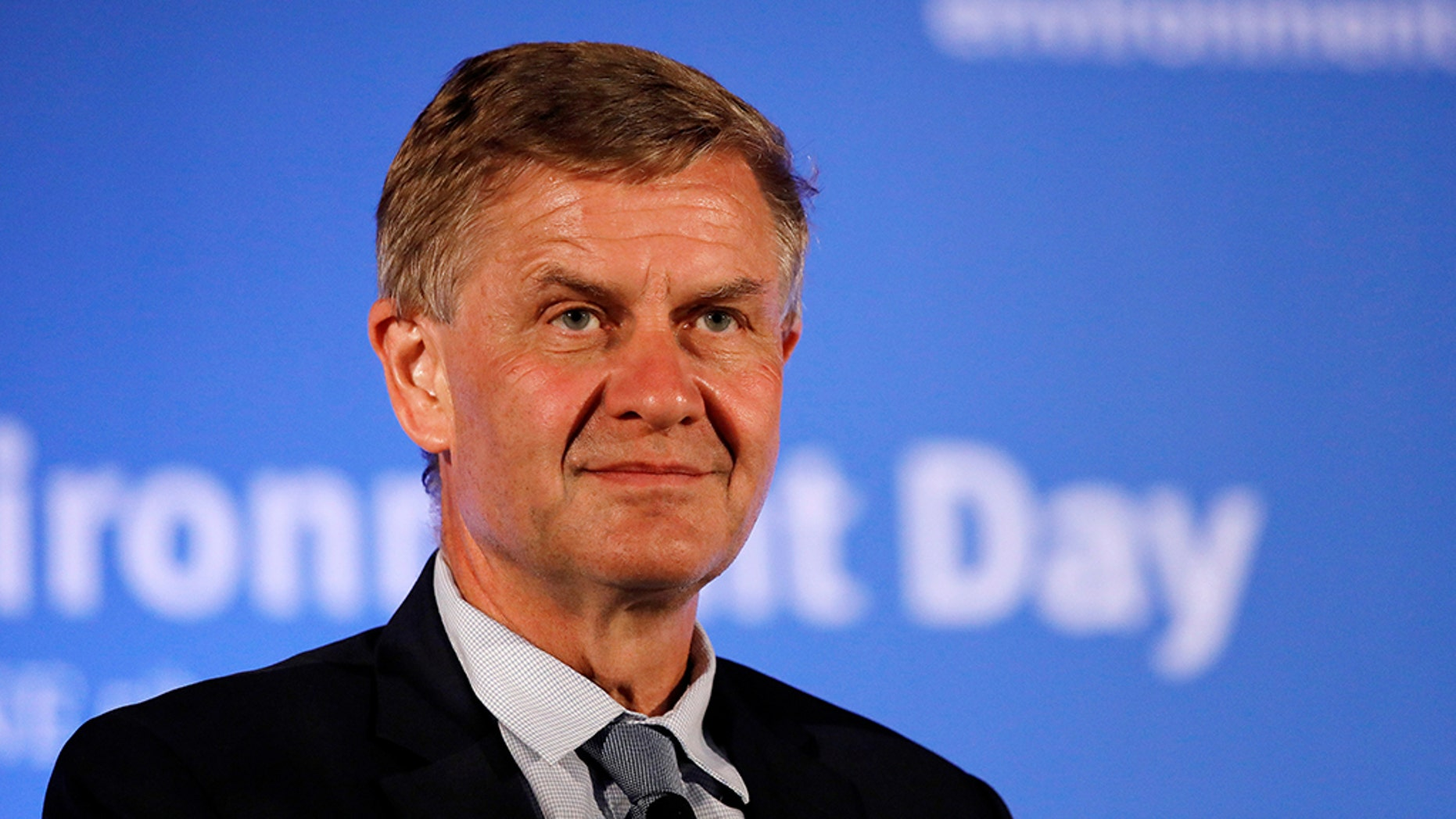 Erik Solheim, Executive Director of the United Nations Environment Program, listens to the audience at a symposium on World Environment Day in New Delhi, India, June 5, 2018. (Reuters)