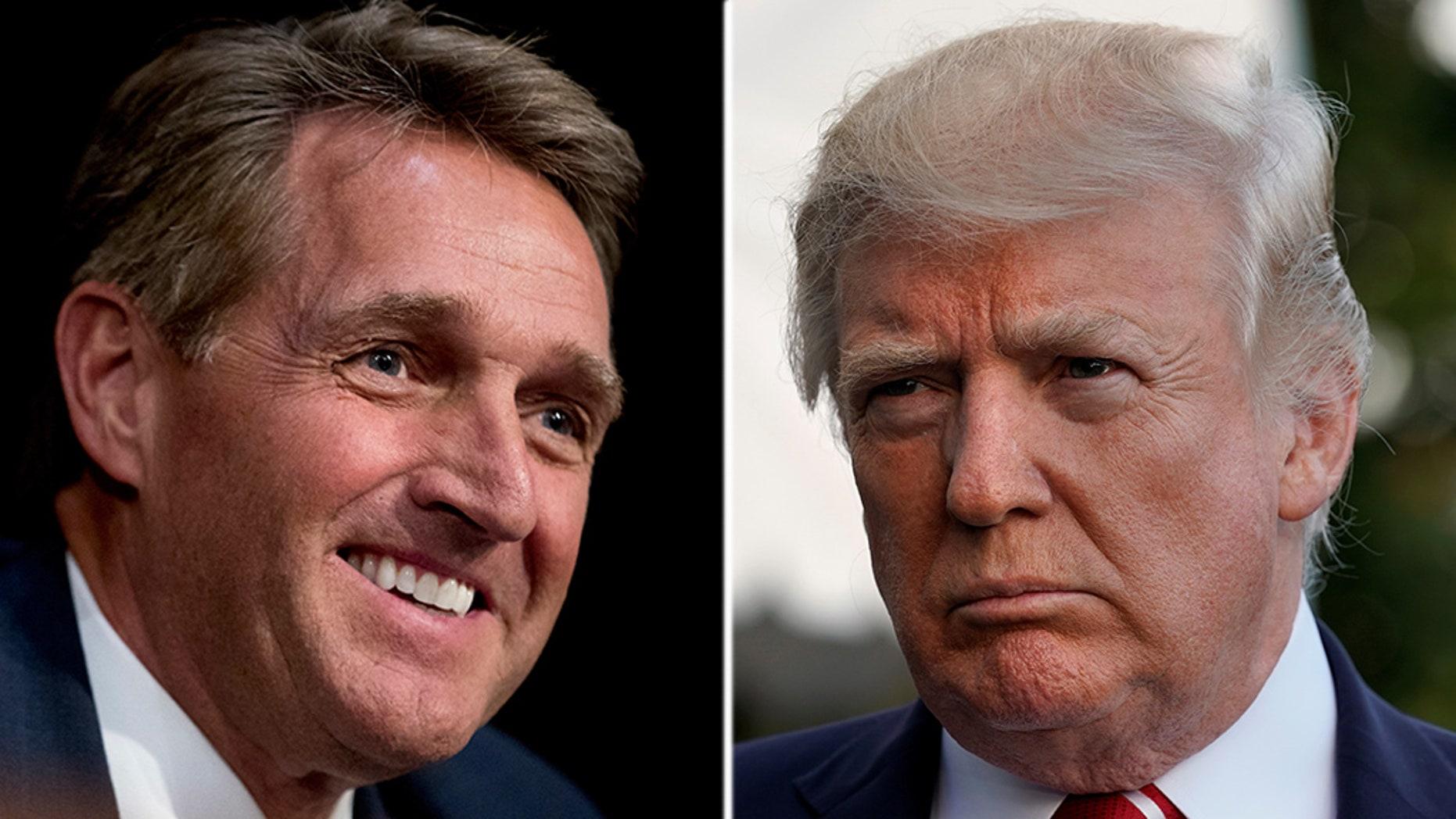 Arizona GOP Sen. Jeff Flake is deliberation a 2020challenge of President Trump.