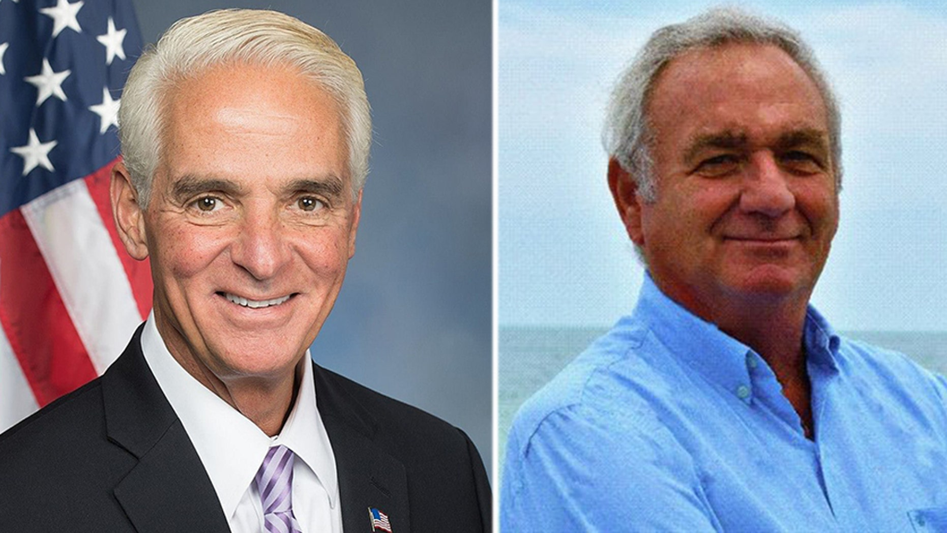 Charlie Crist (left) has won re-election to Florida's district representing St. Petersburg and Clearwater, beating Republican challenger George Buck