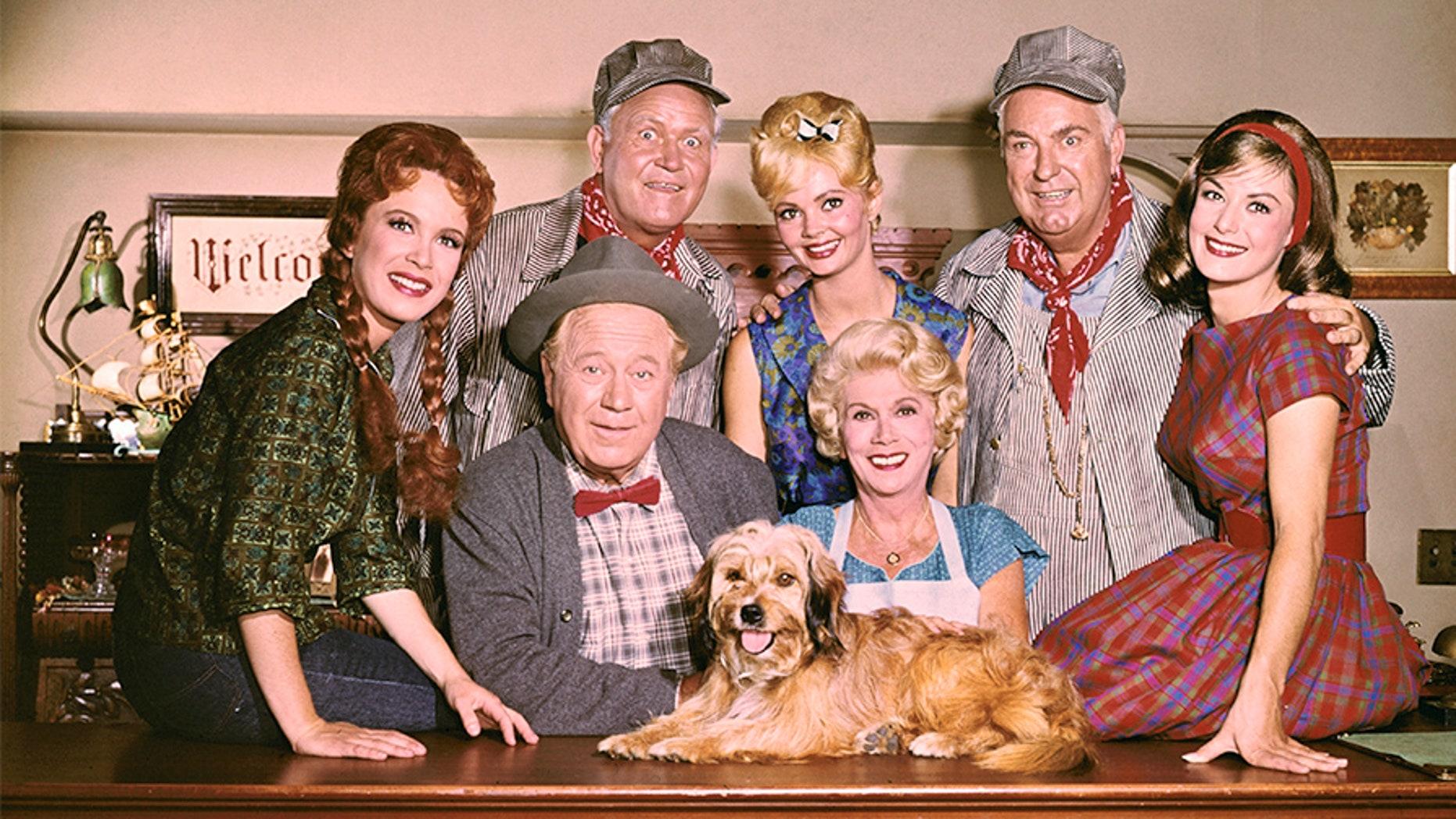 Front row: Linda Henning, Edgar Buchanan, Bea Benaderet, Lori Saunders. Back row: Rufus Davis, Jeannine Riley, Smiley Burnette.