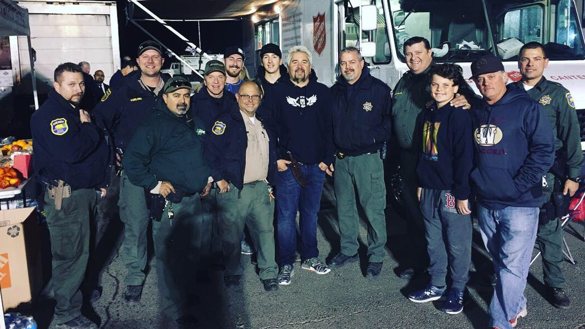 Guy Fieri brought dinner for officials working to battle the Camp Fire.