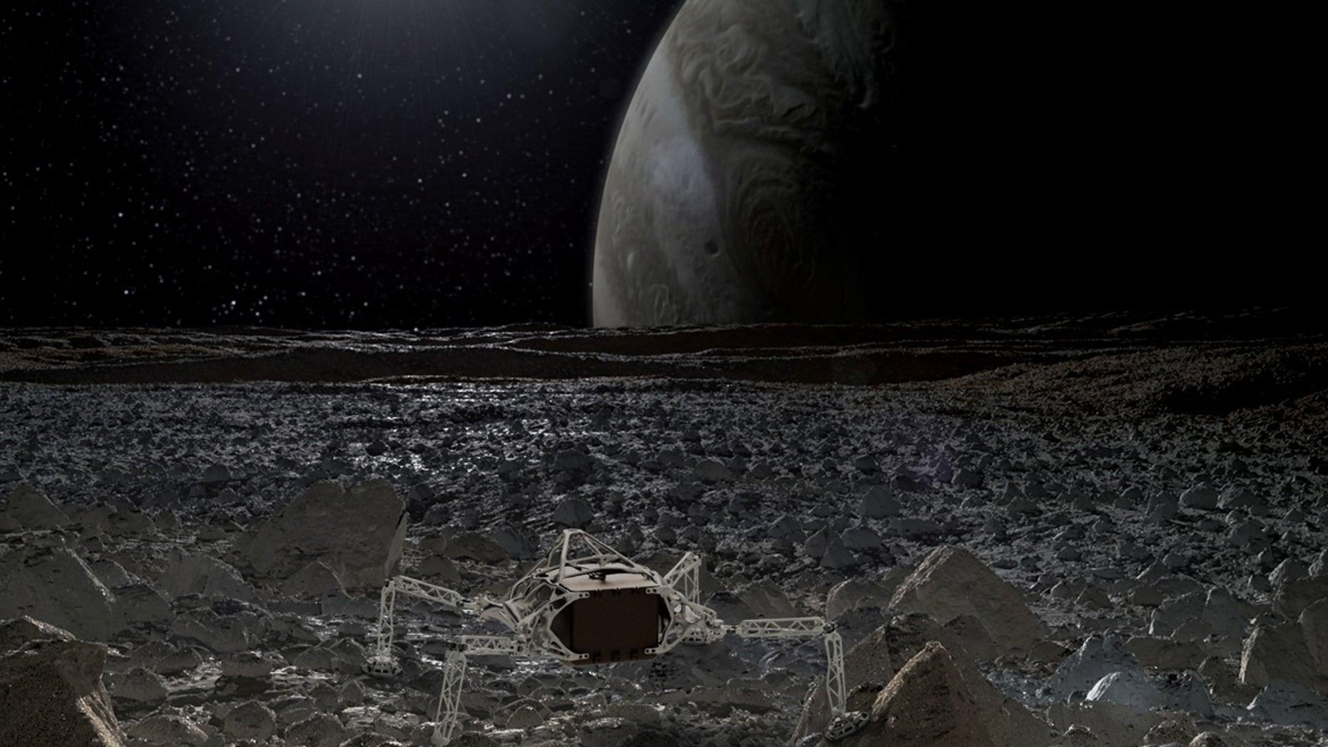 An artist's depiction of an organically inspired lander on Jupiter's moon Europa.