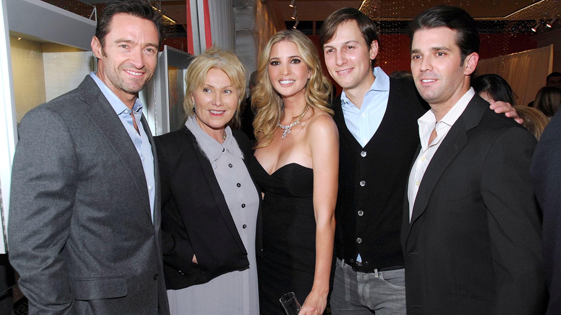 Hugh Jackman, Deborra-Lee Furness, Ivanka Trump, Jared Kushner and Donald Trump Jr. attend Ivanka Trump Fine Jewelry Boutique Opening in New York in 2011.