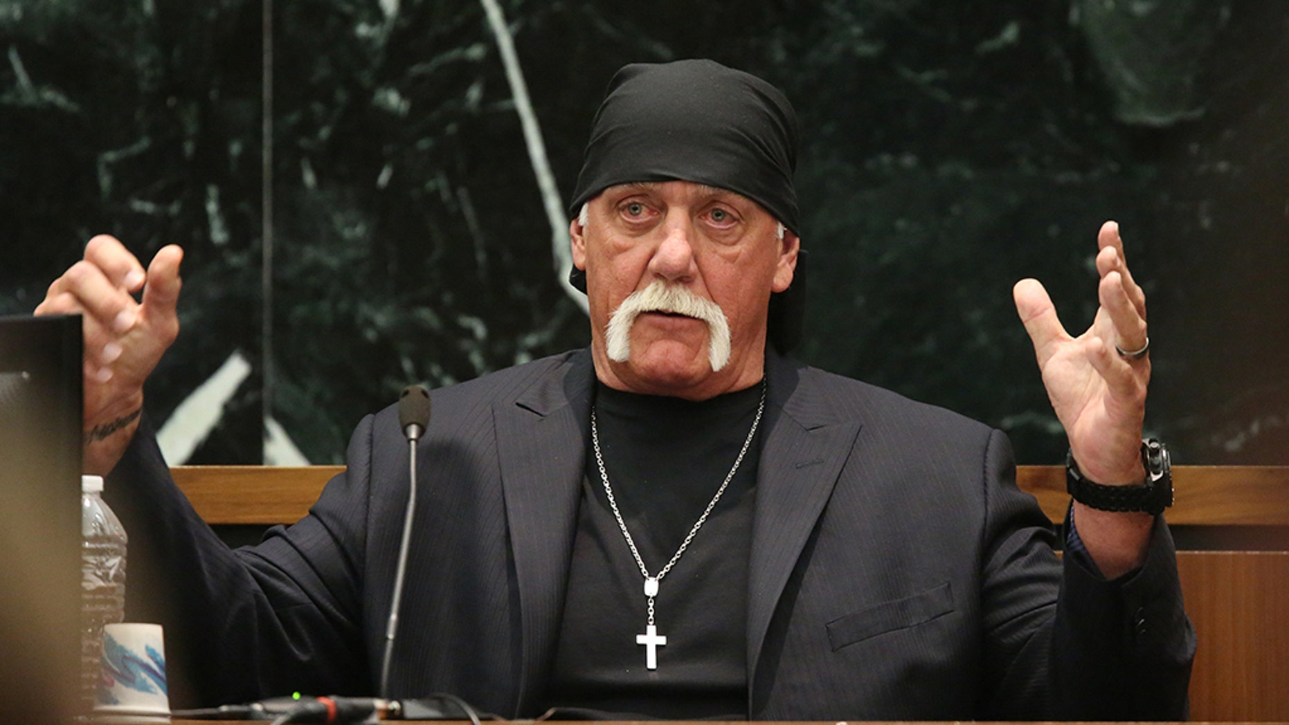 """Terry Bollea, aka Hulk Hogan, testifies in court during his trial against Gawker Media, in St Petersburg, Florida March 8, 2016. Hogan testified on Tuesday he no longer was """"the same person I was before"""" following personal setbacks and the humiliation suffered when the online news outlet Gawker posted a video of him having sex with a friend's wife. REUTERS/Tampa Bay Times/John Pendygraft/Pool MANDATORY NYPOST OUT - TM3EC3816Q501"""
