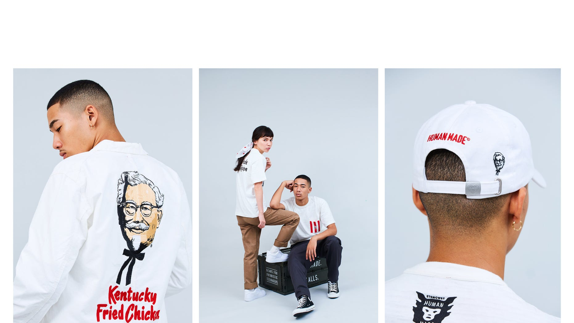 Fans will be able to purchase Human Made x KFC Capsule Collection items at a pop-up shopping experience on Friday, Nov. 16, at a KFC restaurant in Manhattan. (PRNewsfoto/KFC)