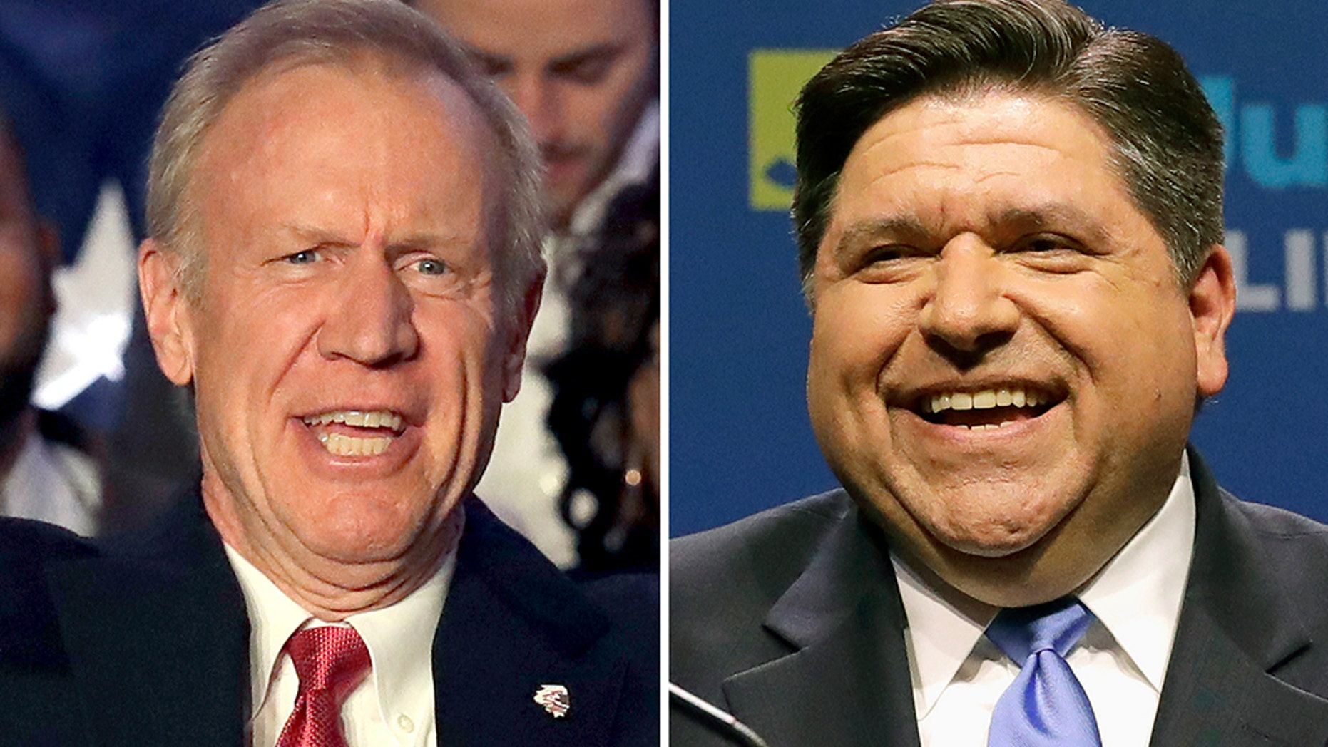 FILE - This combination of March 20, 2018, file photos shows the candidates for Illinois governor in the November 2018 election from left, incumbent GOP Gov. Bruce Rauner and Democrat J.B. Pritzker. (AP Photo/File)
