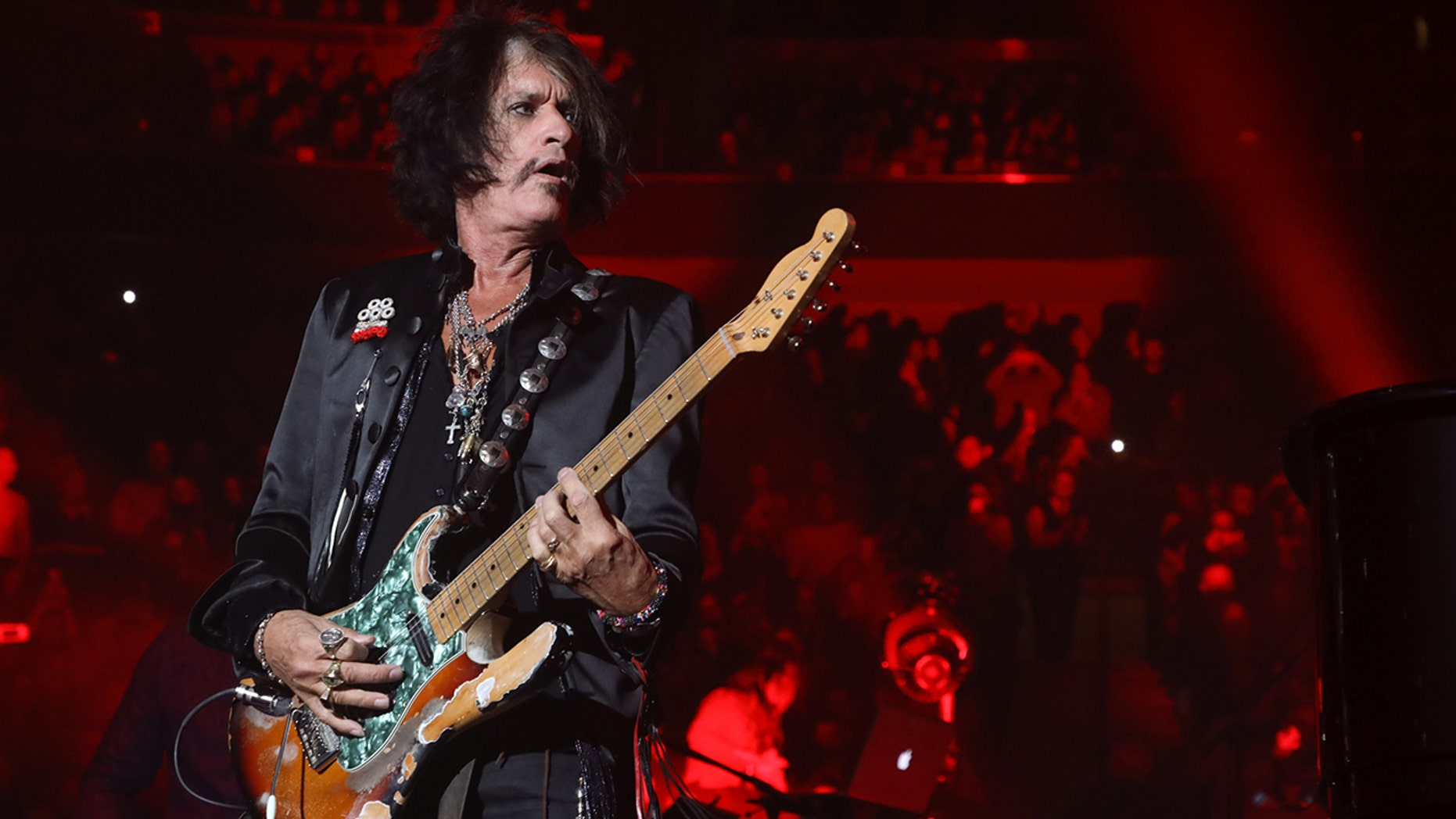 "Aerosmith's Joe Perry plays ""Walk This Way"" with Billy Joel at Billy Joel's 104th Show at Madison Square Garden on November 10, 2018 in New York City."