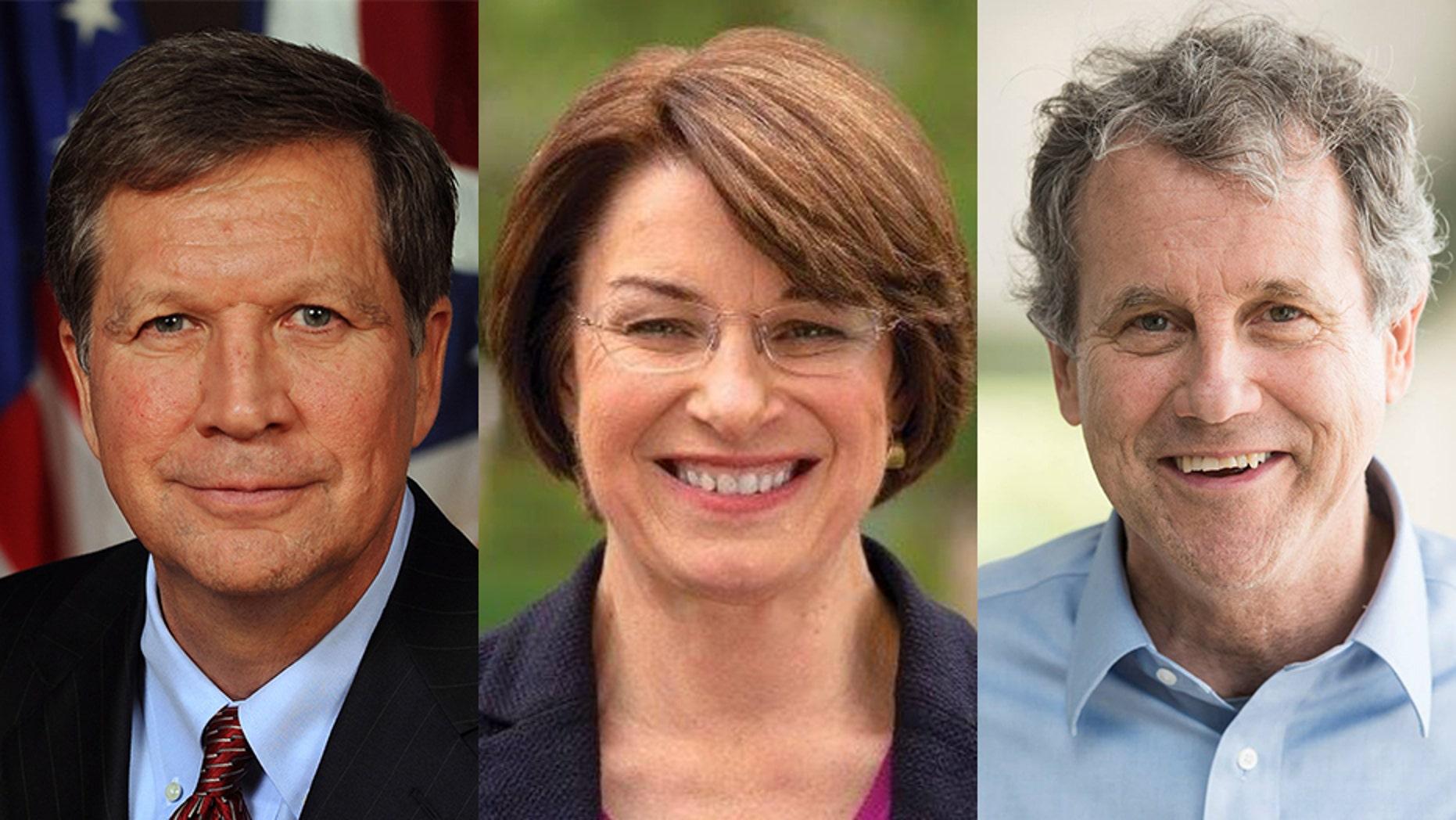 Ohio Gov. John Kasich, Minnesota Sen. Amy Klobuchar and Ohio Sen. Sherrod Brown.