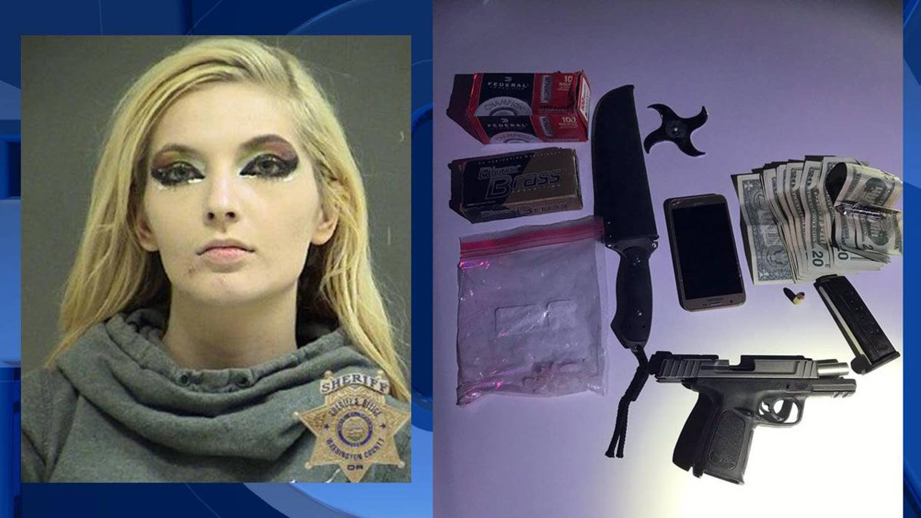 Katheline Test, 22, was busted with having meth, a handgun, and other restricted weapons in Aloha, Oregon.