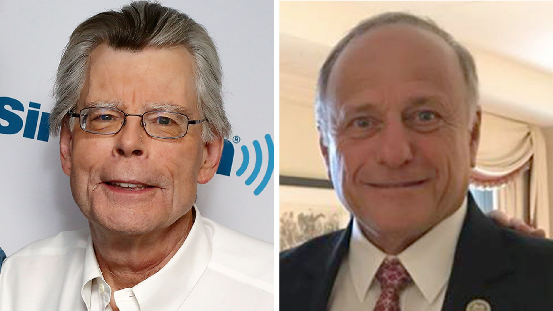 With Iowa Republican Rep. Steve King, right, engulfed in controversy, author Stephen King took to social media over the weekend to try to distance himself from the congressman.