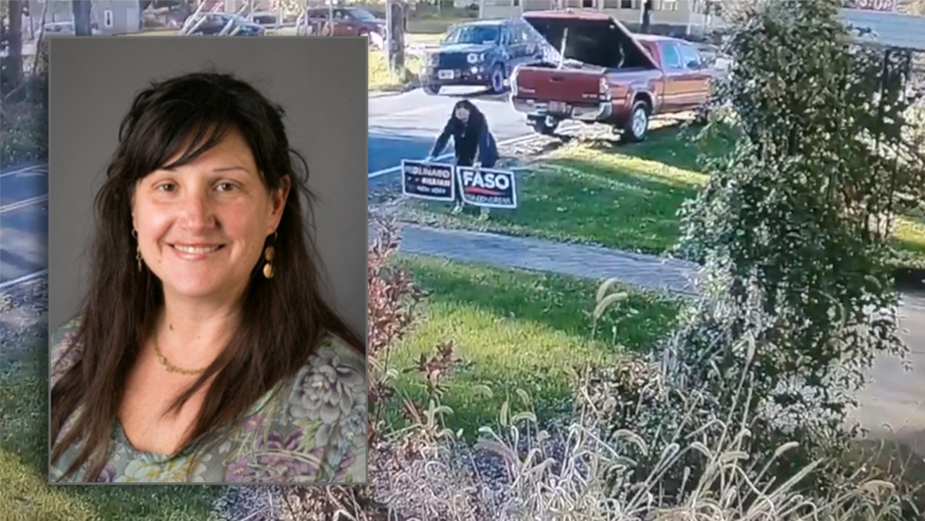 Laura Ebert, a SUNY New Paltz economics professor, was caught on camera stealing Republican yards signs from another person's yard Oct. 30.