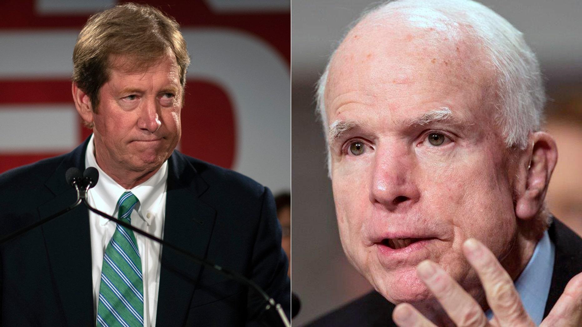 Rep. Jason Lewis, R-Minn., and Sen. John McCain, R-Ariz.