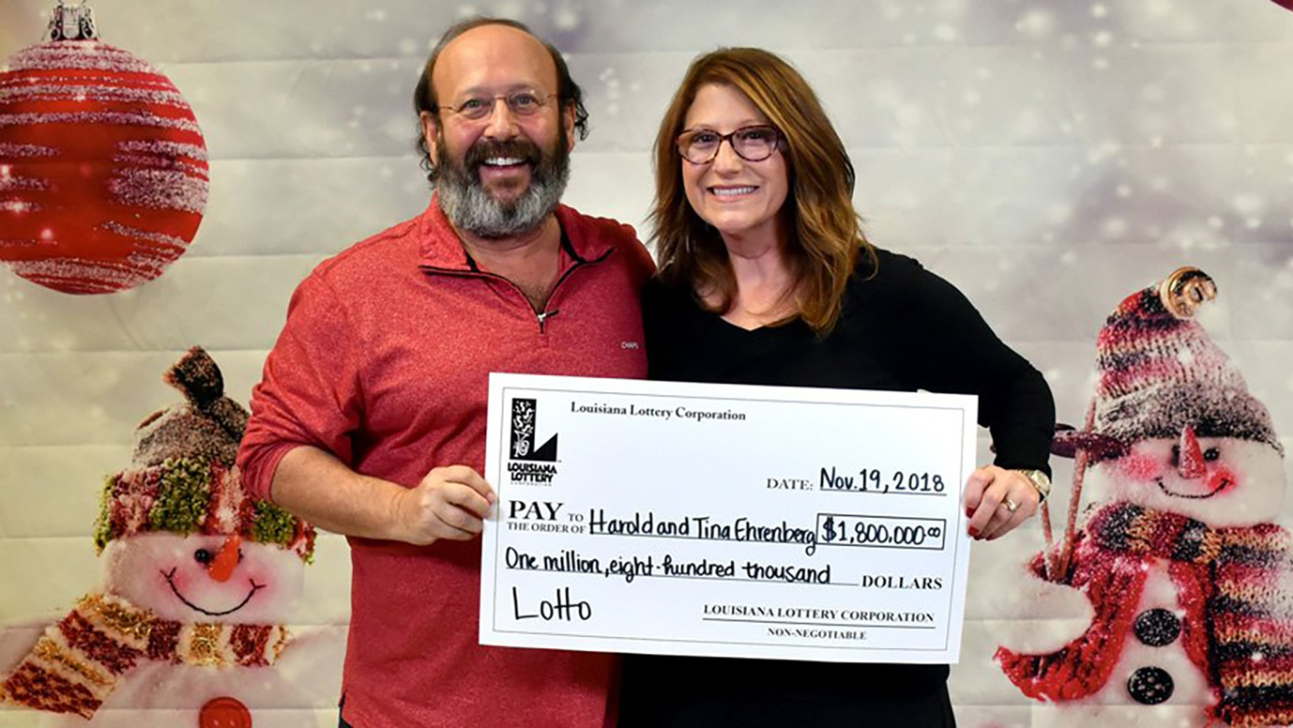 Harold and Tina Ehrenberg were cleaning their house this week ahead of the holidays when they found a winning lottery ticket worth $1.8 million, Louisiana Lottery officials said.