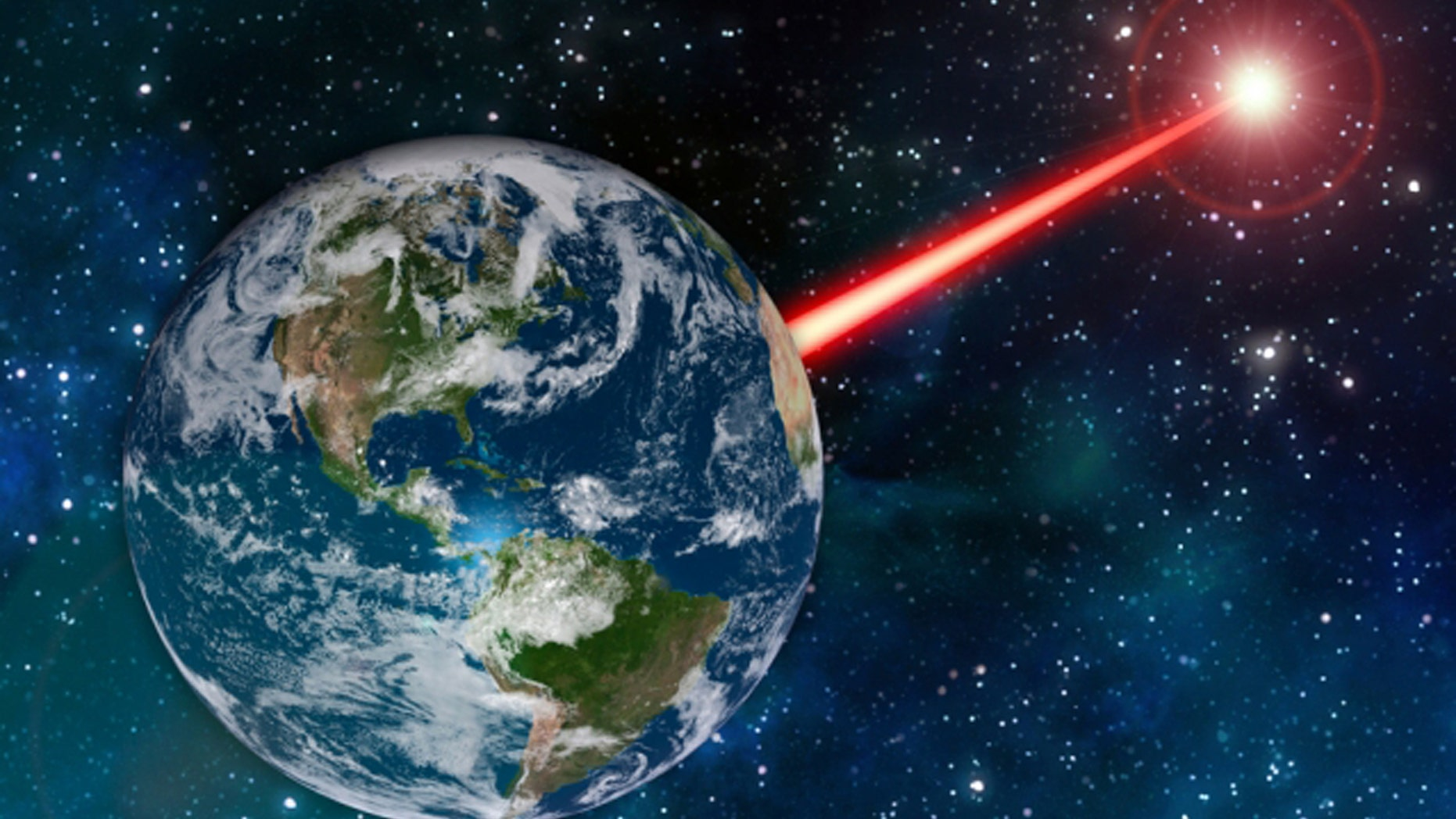 An MIT study proposes that laser technology on Earth could emit a beacon strong enough to attract attention from as far as 20,000 light years away. (Credit: MIT News)