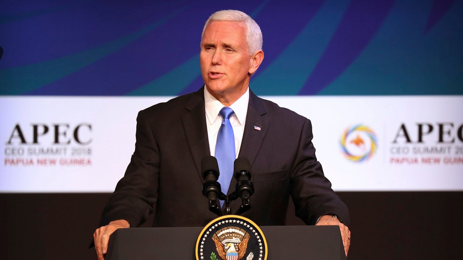 Vice President Mike Pence speaks Saturday at the APEC CEO Summit at the Pacific Explorer cruise ship docked in Port Moresby, Papua New Guinea.