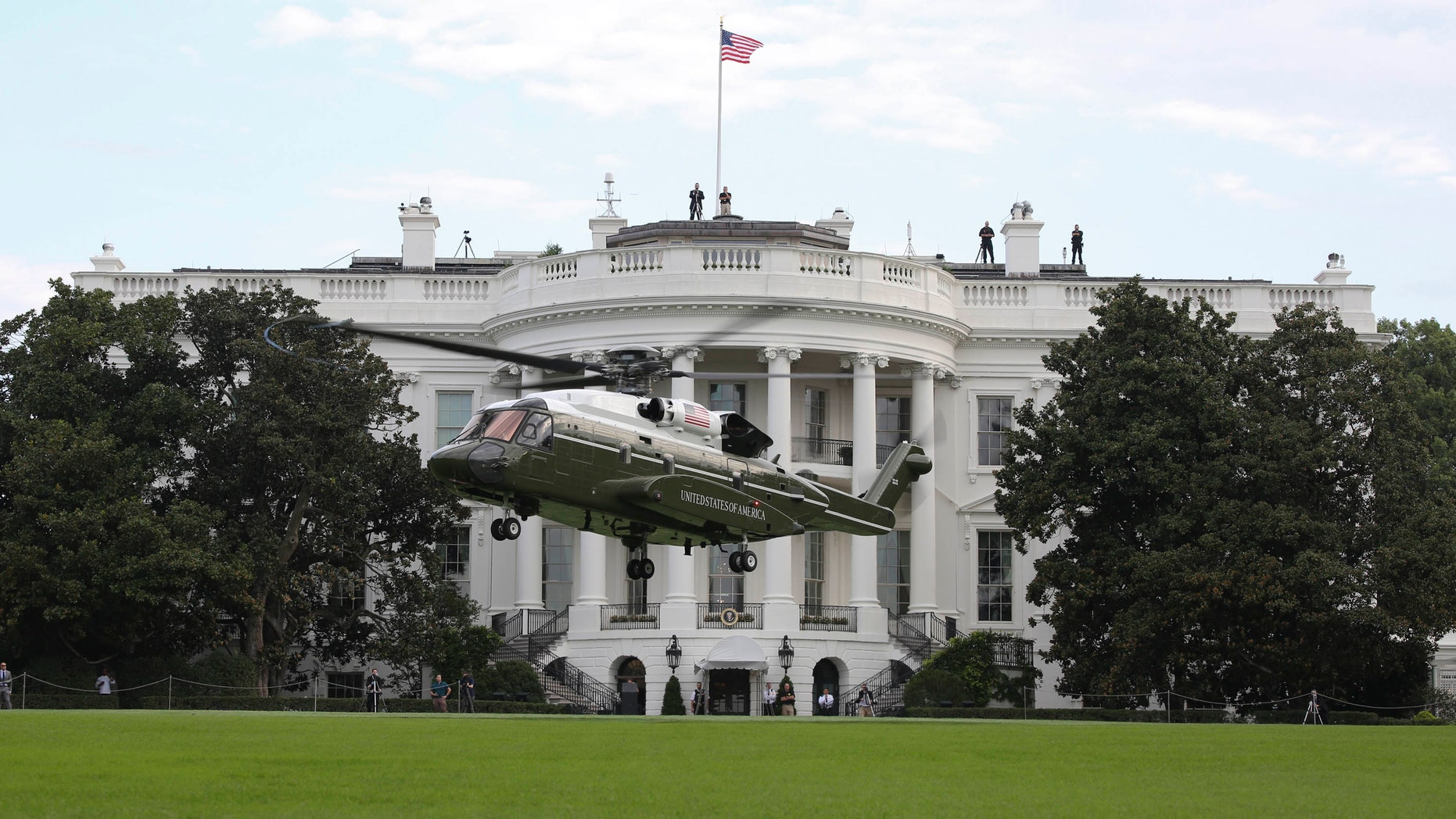A developmental VH-92A helicopter conducts landing and take-off testing at the White House South Lawn on Sep. 22, 2018. (U.S. Marine Corps photo by Sgt. Hunter Helis)