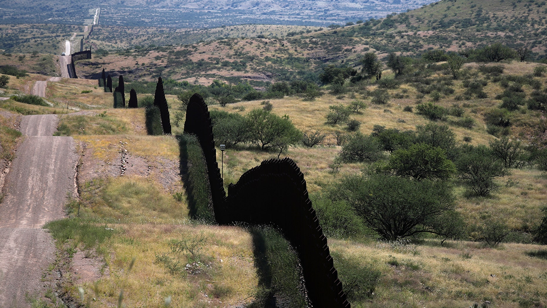 The U.S. border wall with Mexico is seen from the United States in Nogales, Arizona back in mid-September.