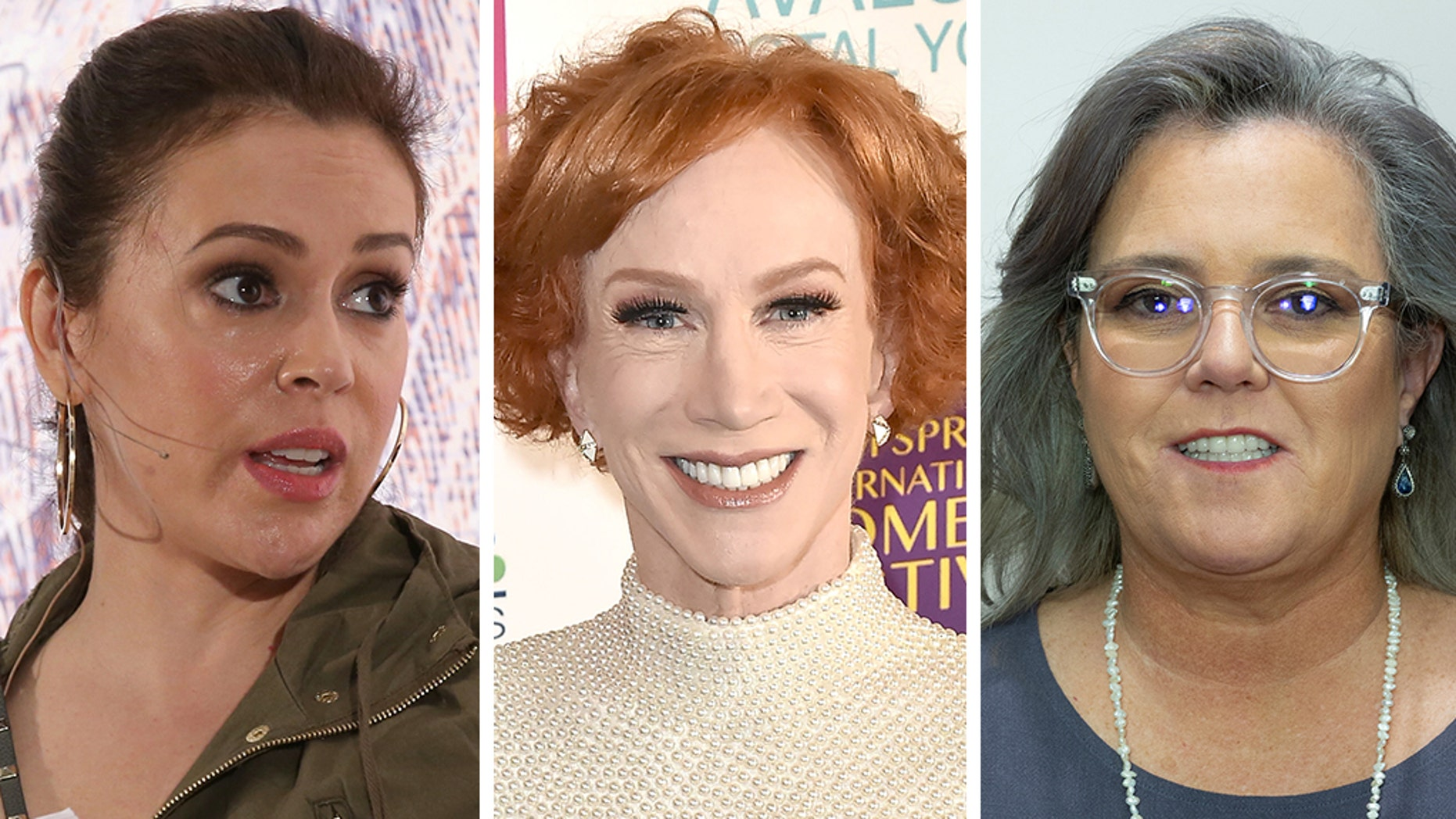 (From left) Alyssa Milano, Kathy Griffin, and Rosie O'Donnell slammed President Trump after Sunday's border clash.