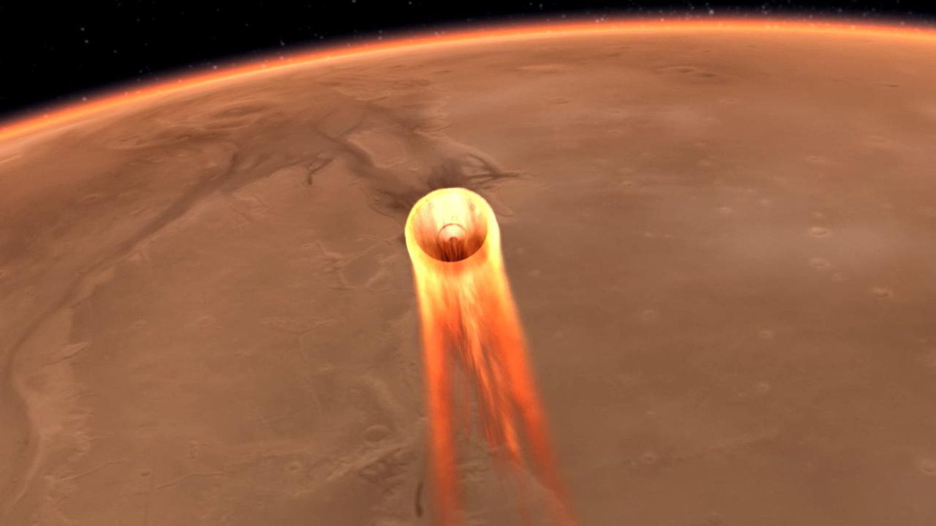 An artist's impression of NASA InSight's entry, descent and landing at Mars, scheduled for Nov. 26, 2018. Image (Credit: NASA/JPL-Caltech)