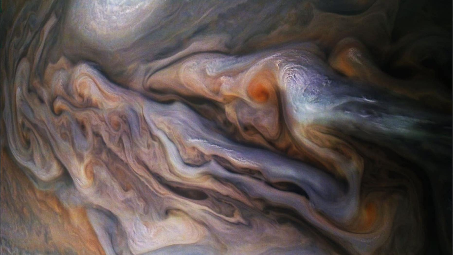 NASA releases new image of Jupiter's swirling clouds