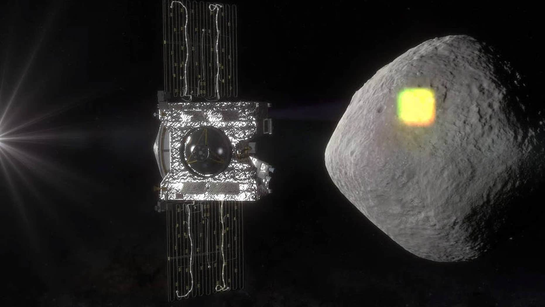 Artist's impression of OSIRIS-REx and asteroid Bennu. (NASA/Goddard/University of Arizona)
