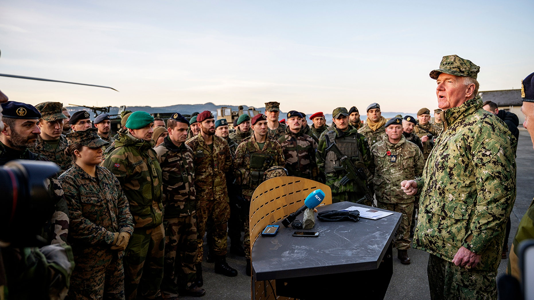 U.S. Admiral James G. Foggo, right, Commander of the NATO Trident Juncture exercise, speaks during a ceremony at Vaernes airport in Stjordal, Wednesday Nov. 7, 2018, marking the end of the NATO exercise Trident Juncture.