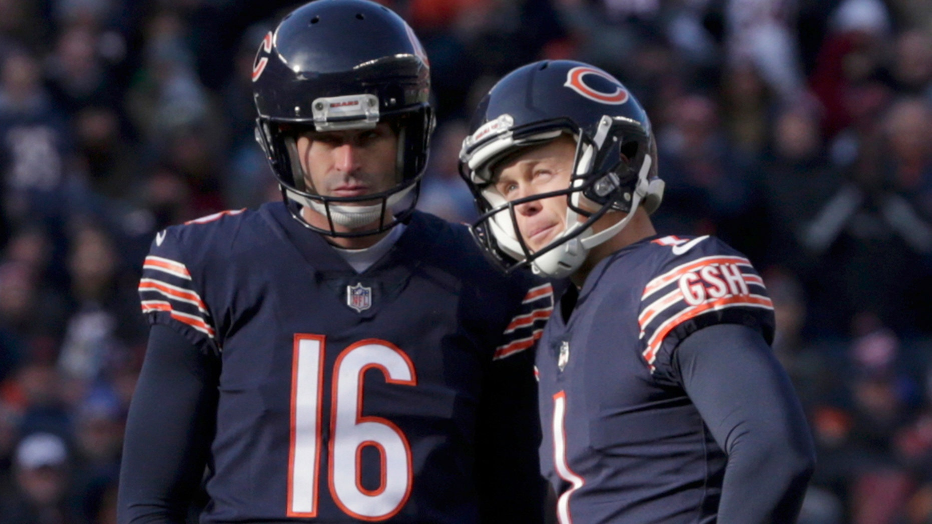 Chicago Bears kicker Cody Parkey (1) reacts as he talks to holder Pat O'Donnell (16) after missing a field goal during the second half of an NFL football game against the Detroit Lions Sunday, Nov. 11, 2018, in Chicago.