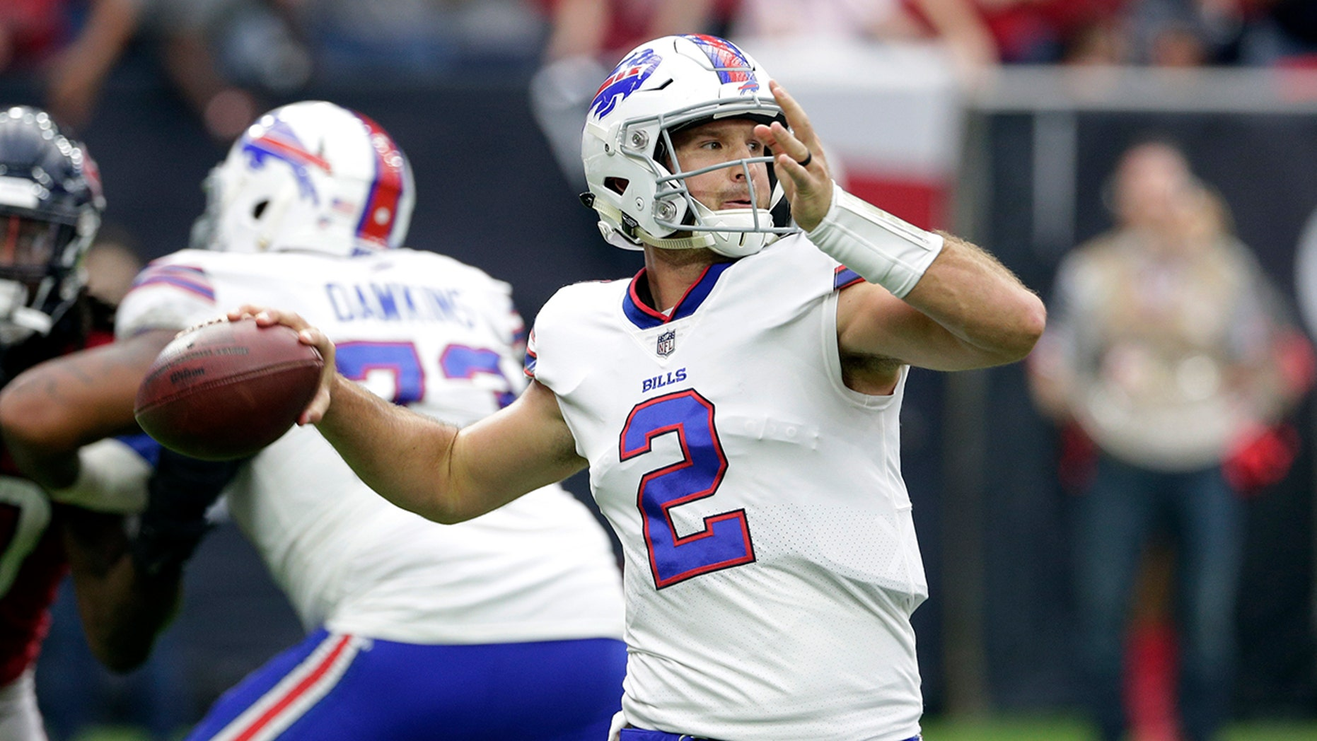 In this Oct. 14, 2018, record photo, Buffalo Bills quarterback Nathan Peterman throws a pass during an NFL game.