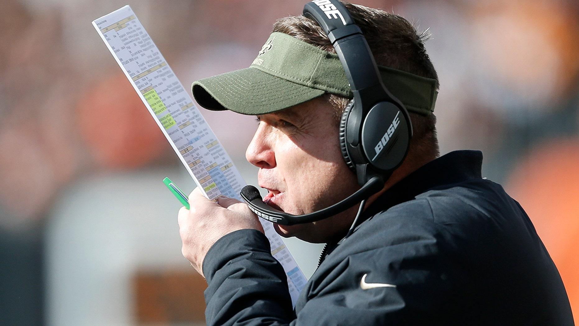 New Orleans Saints head coach Sean Payton was accused of smashing a fire alarm at Paul Brown Stadium in Cincinnati.