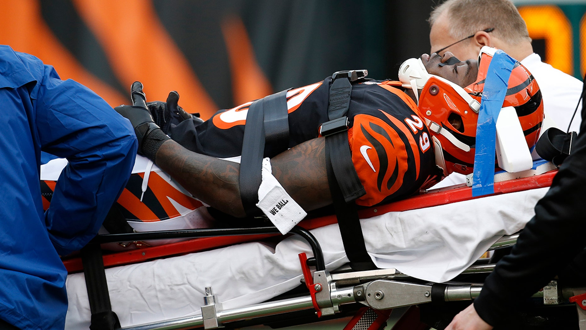 Cincinnati Bengals cornerback Tony McRae (29) is taken off the field after an injury in the second half of an NFL football game against the Cleveland Browns, Sunday, Nov. 25, 2018, in Cincinnati.